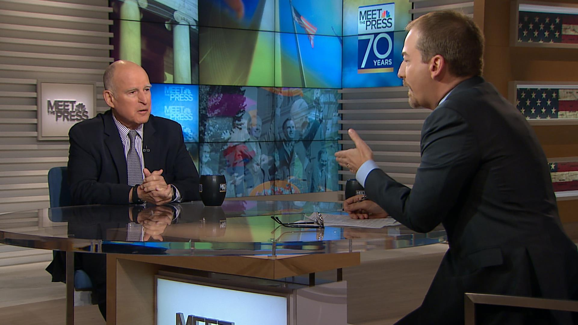 """Gov. Jerry Brown's appearance on NBC's """"Meet the Press"""" in March of 2017"""