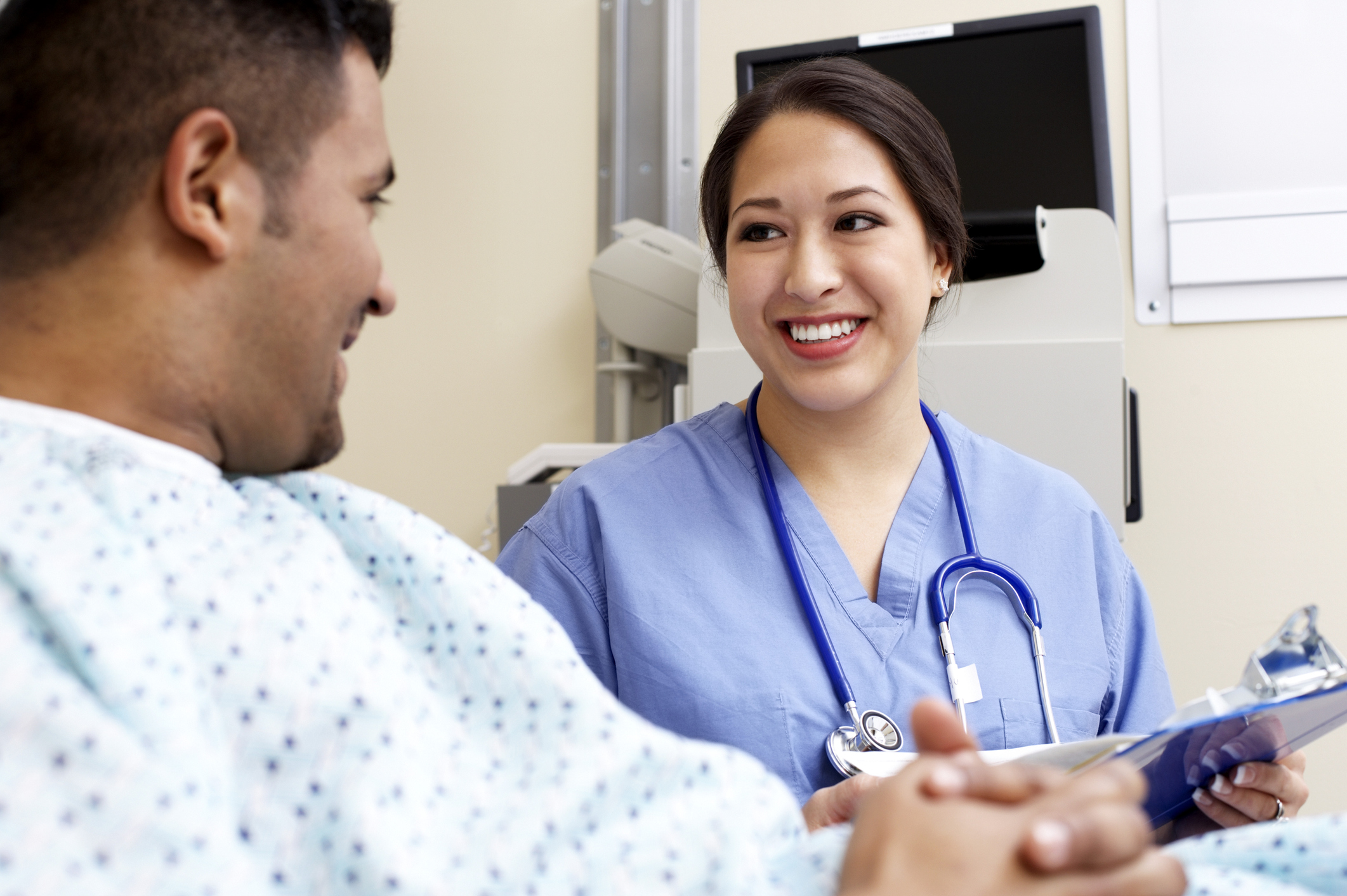 Healthcare worker with a patient
