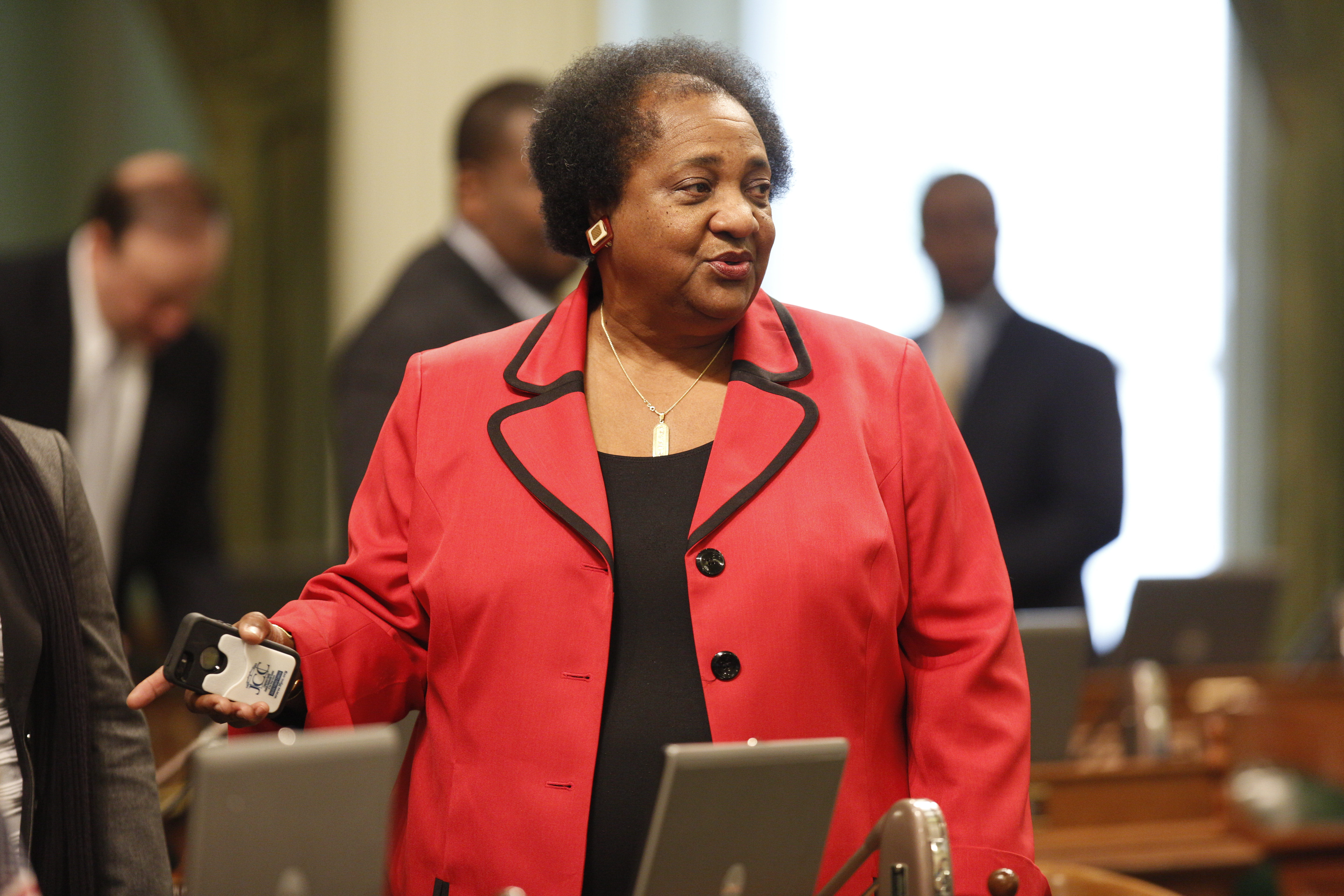 Shirley Weber at the California Assembly's most recent swearing-in ceremony. Photo by Steve Yeater for CALmatters