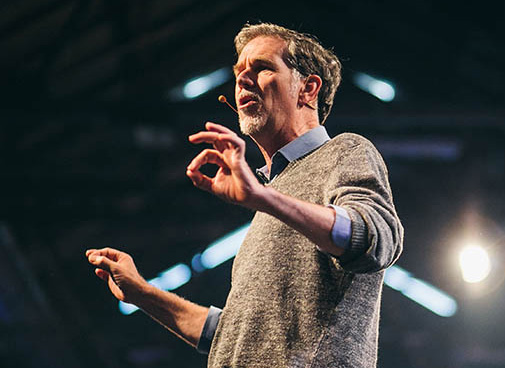 Reed Hastings gives a speech.