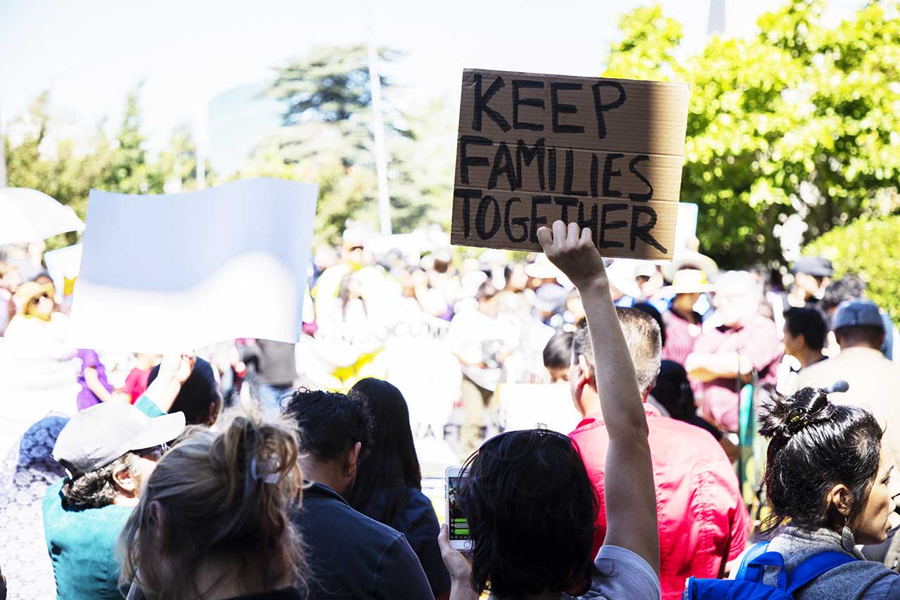 Protesters in Sacramento condemned the Trump administration for separating children from their parents at the border. Photo by Robbie Short for CALmatters