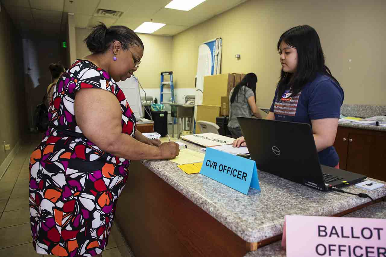 A voting center in Rancho Cordova, Sacramento, is shown on June 5, 2018. | Photo by Robbie Short for CALmatters