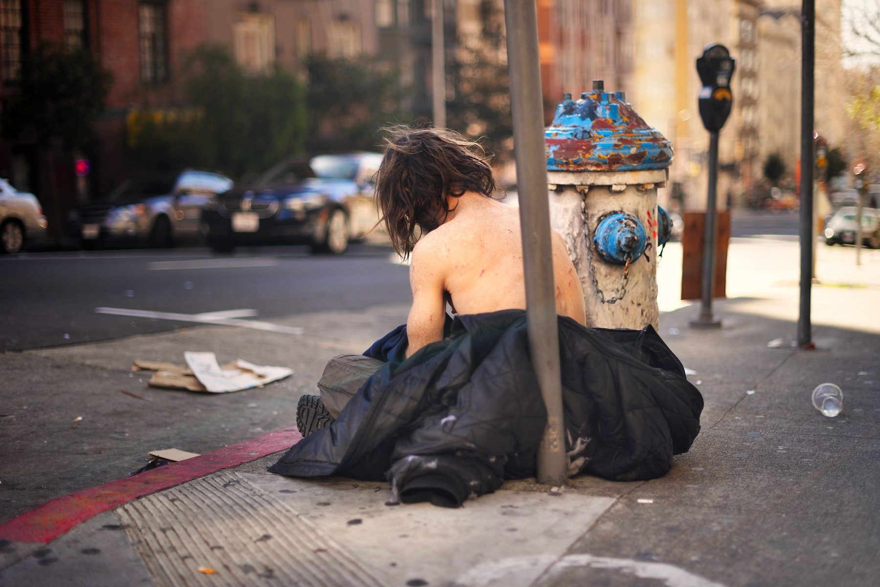 A homeless man on the street in San Francisco. Conservatorship law complicates treatment for mentally ill homeless Californians.