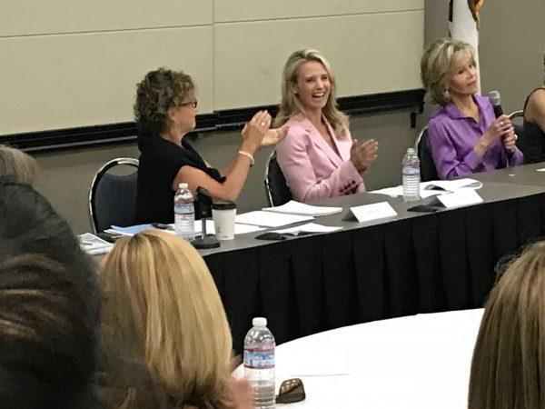 Jennifer Siebel Newsom and Jane Fonda backed Assembly Bill 3080, Aug. 7, 2018, in Sacramento.