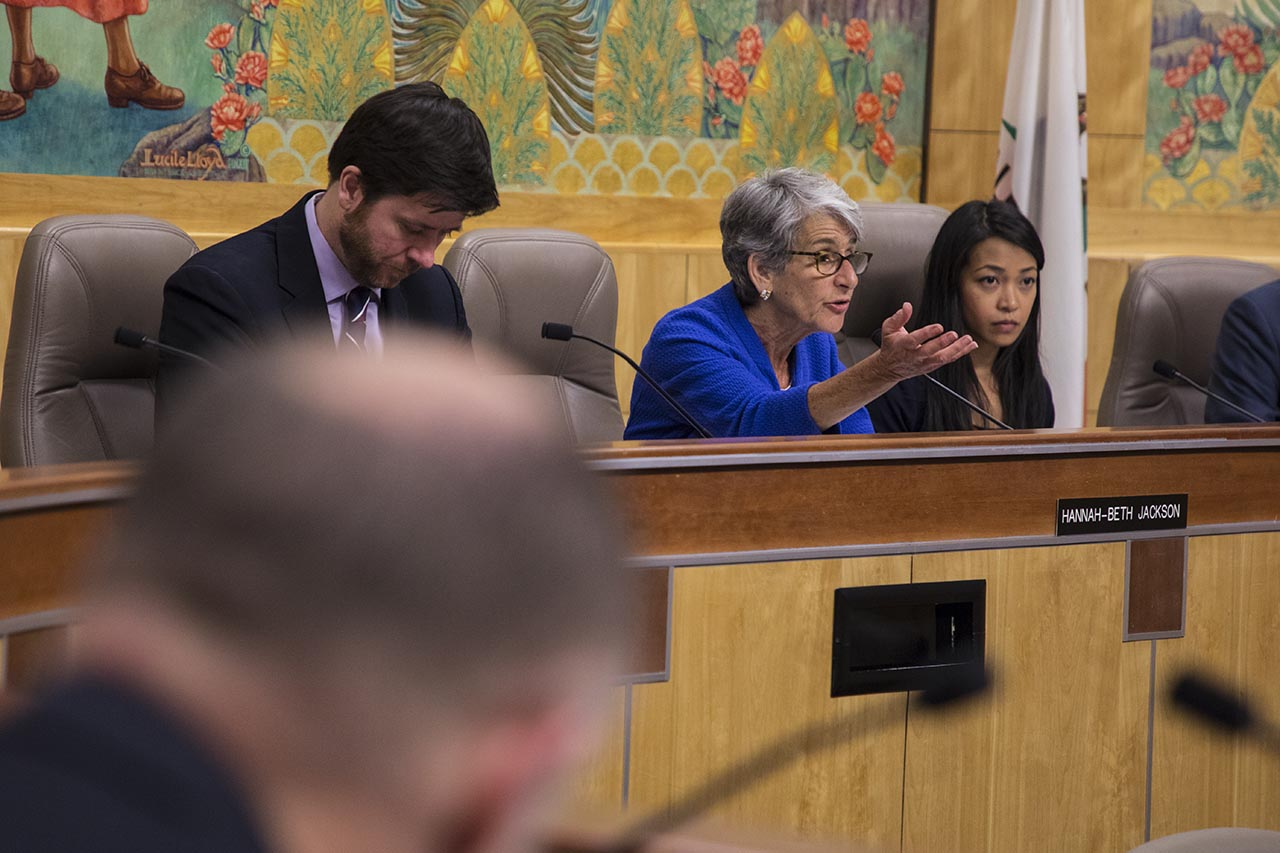 Sen. Hannah-Beth Jackson speaks from the dais at a Senate committee hearing.