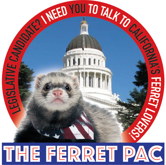 Logo of the Ferret PAC, a political action committee which seeks to legalize ferrets.