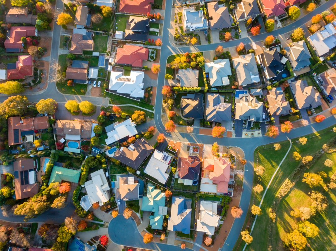 Aerial shot of neighborhood.