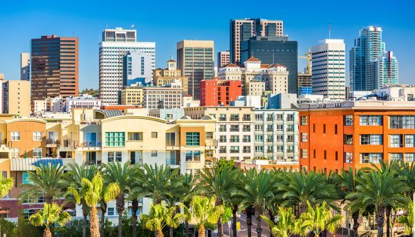 The skyline of San Diego, California, a state where voters could soon decide on Proposition 10, which would bring back rent control, is shown.