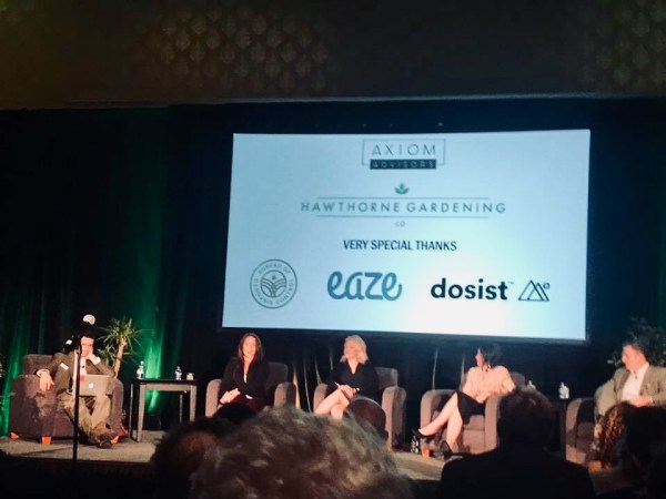 Billed as a senior advisor to Gov. Gavin Newsom, Jason Kinney, far right, discusses cannabis regulation at a Las Vegas weed industry conference. With him, from left, are John Schroyer of Marijuana Business Daily, Sonya Logman Deputy Secretary of the Business, Consumer Services and Housing Agency, Lori Ajax, Chief of the California Bureau of Cannabis Control and Alexis Podesta, Secretary of the Business, Consumer Services and Housing Agency. Photo courtesy of Jacqueline McGowan