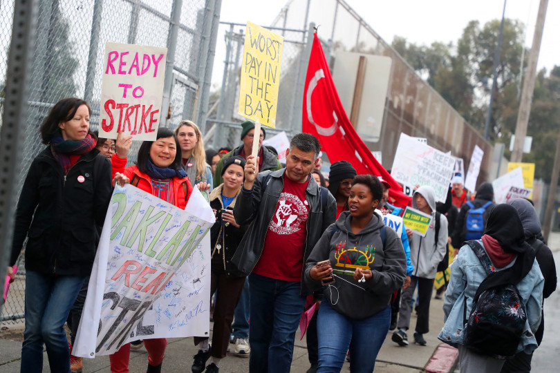 OAKLAND, CA - DECEMBER 10: Teachers and students from Oakland High School take part in a walkout to protest an impasse in contract negotiations on Monday, Dec. 10, 2018, in Oakland, Calif. (Aric Crabb/Bay Area News Group)