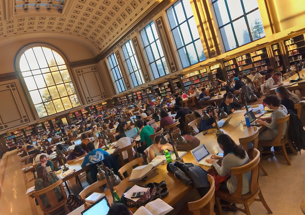 Photo of the north reading room of Doe Library at UC Berkeley.
