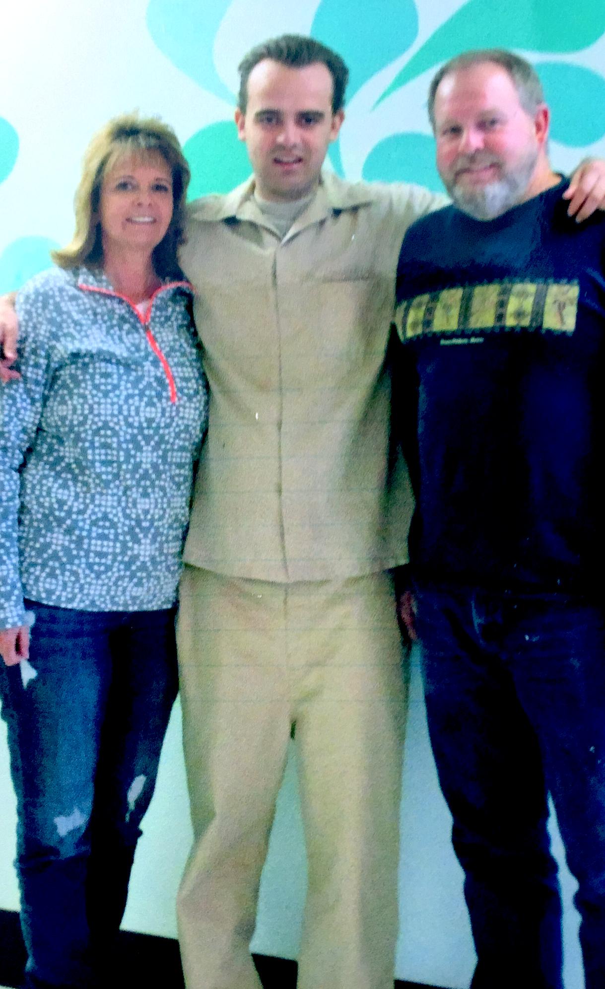 Jeffrey Jurgens at Atascadero State Hospital, surrounded by his parents. Family photo via Joanna Jurgens