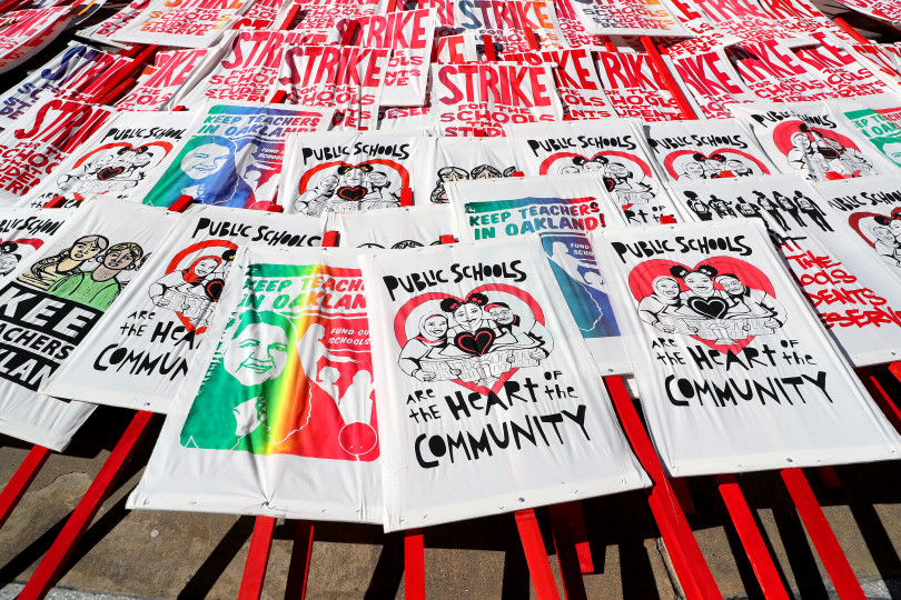 OAKLAND, CA - FEBRUARY 21: Signs are photographed during a rally at Frank Ogawa Plaza during a teacher strike on Thursday, Feb. 21, 2019, in Oakland, Calif. (Aric Crabb/Bay Area News Group)