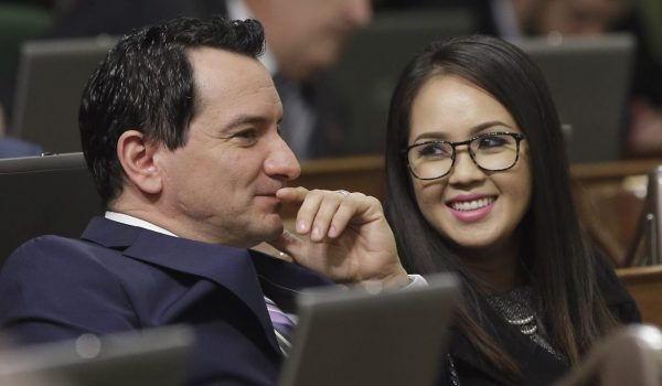 Assemblyman Anthony Rendon of Lakewood, left, gets a smile from his wife, Annie Lam, after the votes were cast electing him as the next Assembly speaker, Monday, Jan. 11, 2016, in Sacramento, Calif. Rendon will formally take over leadership of the chamber starting in March. (AP Photo/Rich Pedroncelli)