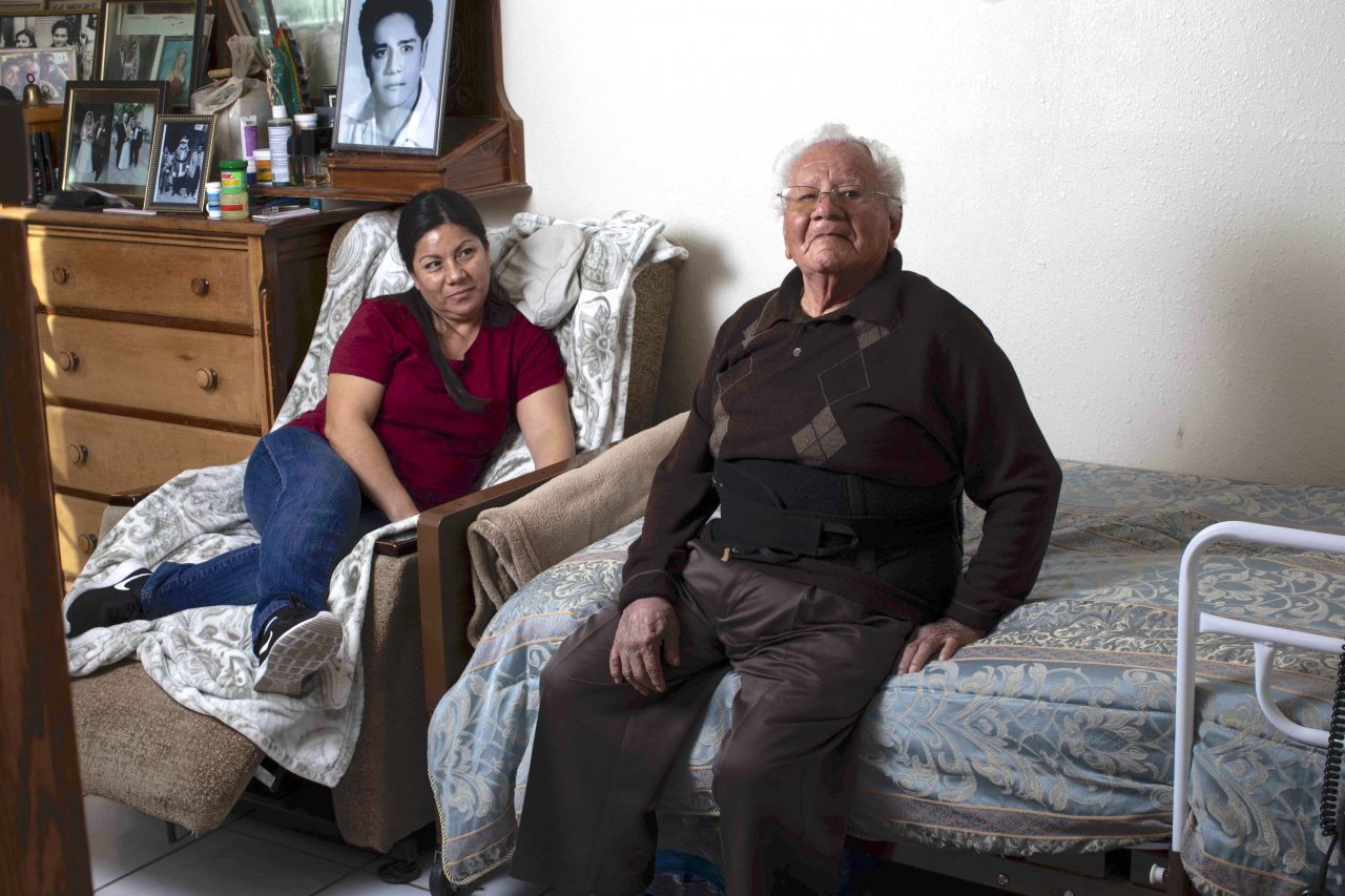 Francisco Rios, 91, has his own room in his daughter Cristina Hernandez's house in Pomona. Photo by Sean Havey for California Dream project