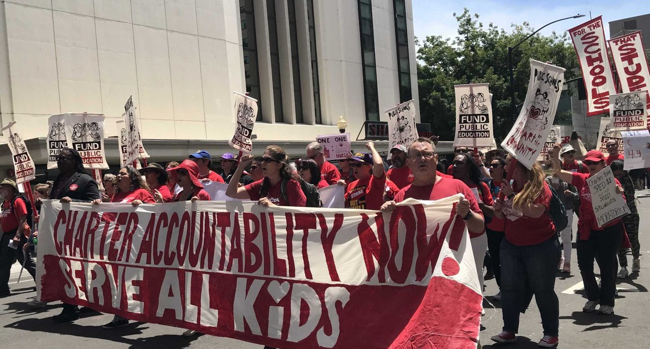 A charter school reform narrowly passed the Assembly as teachers unions rallied outside the Capitol.
