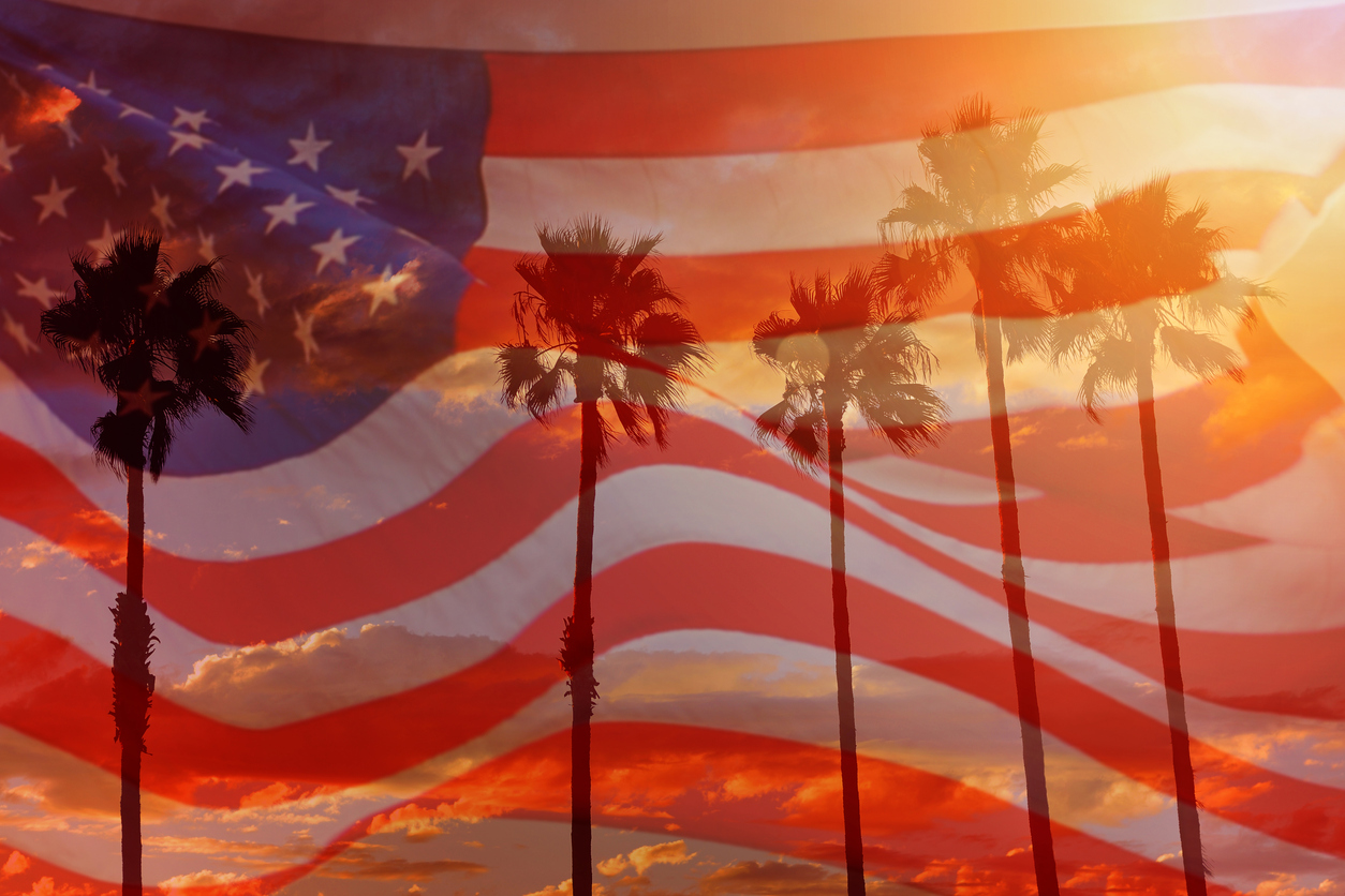 California's move to near the front of the 2020 primary season is altering the campaign. USA flag with palm trees and sunset in the background.
