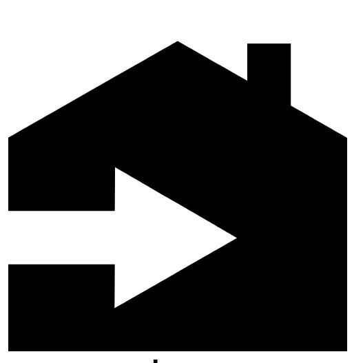 illustration of a house with an arrow in it