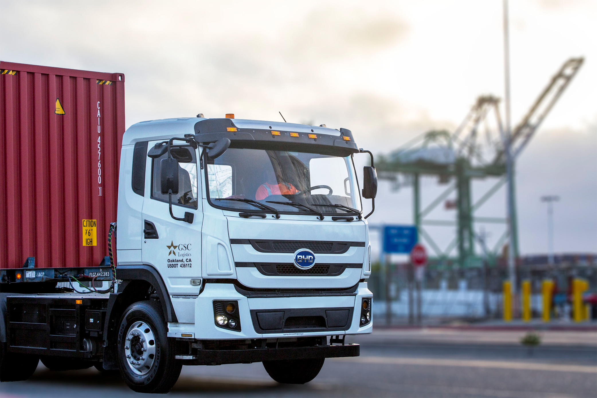 Electric truck at the Port of Oakland. Photo courtesy of GSC Logistics
