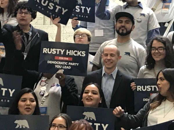 Rusty Hicks, in the blue blazer, at the California Democratic Party Convention in San Francisco.