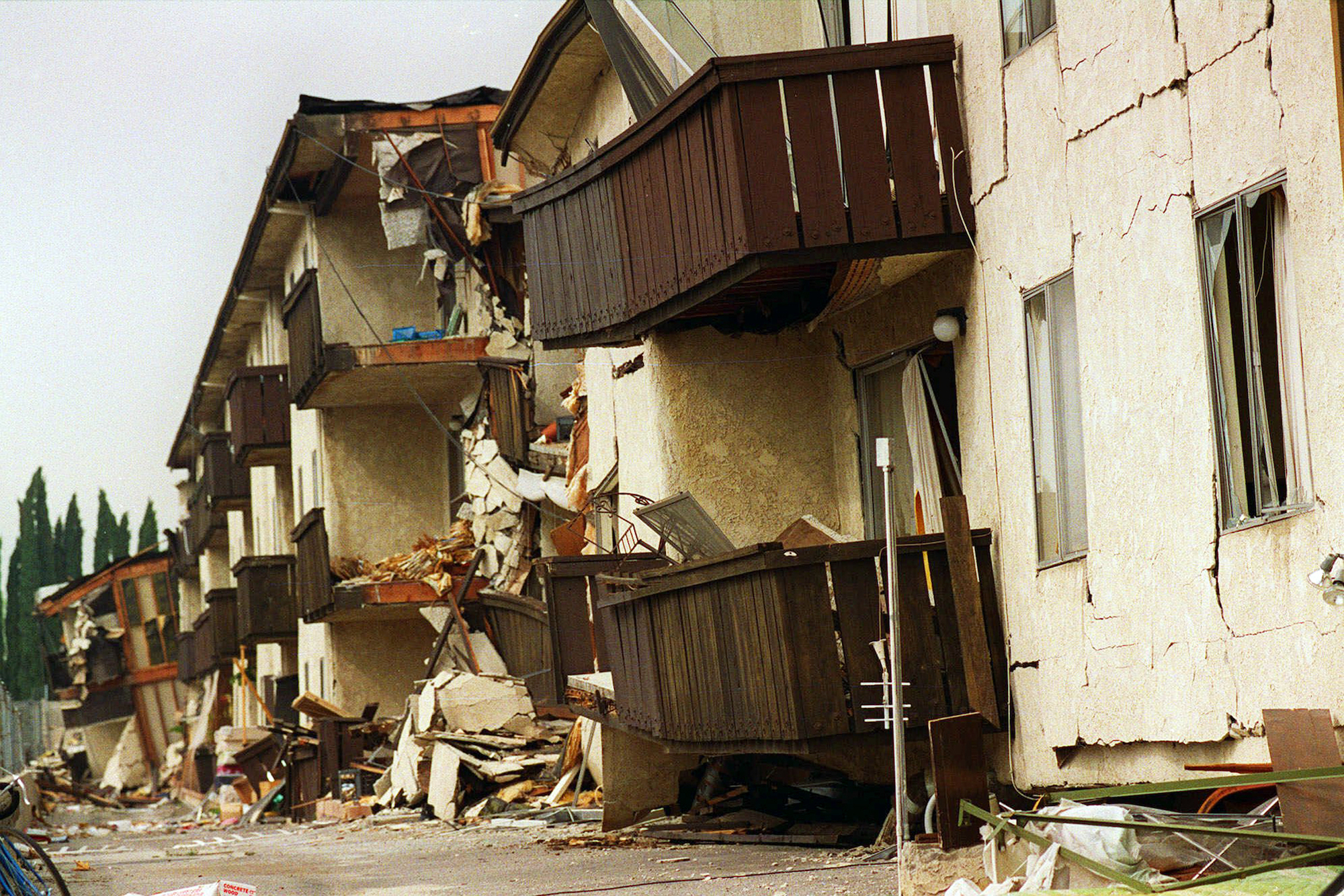 The violent 1994 Northridge quake caused the collapse of the upper floor of the Northridge Meadows apartment complex, killing 16 people.