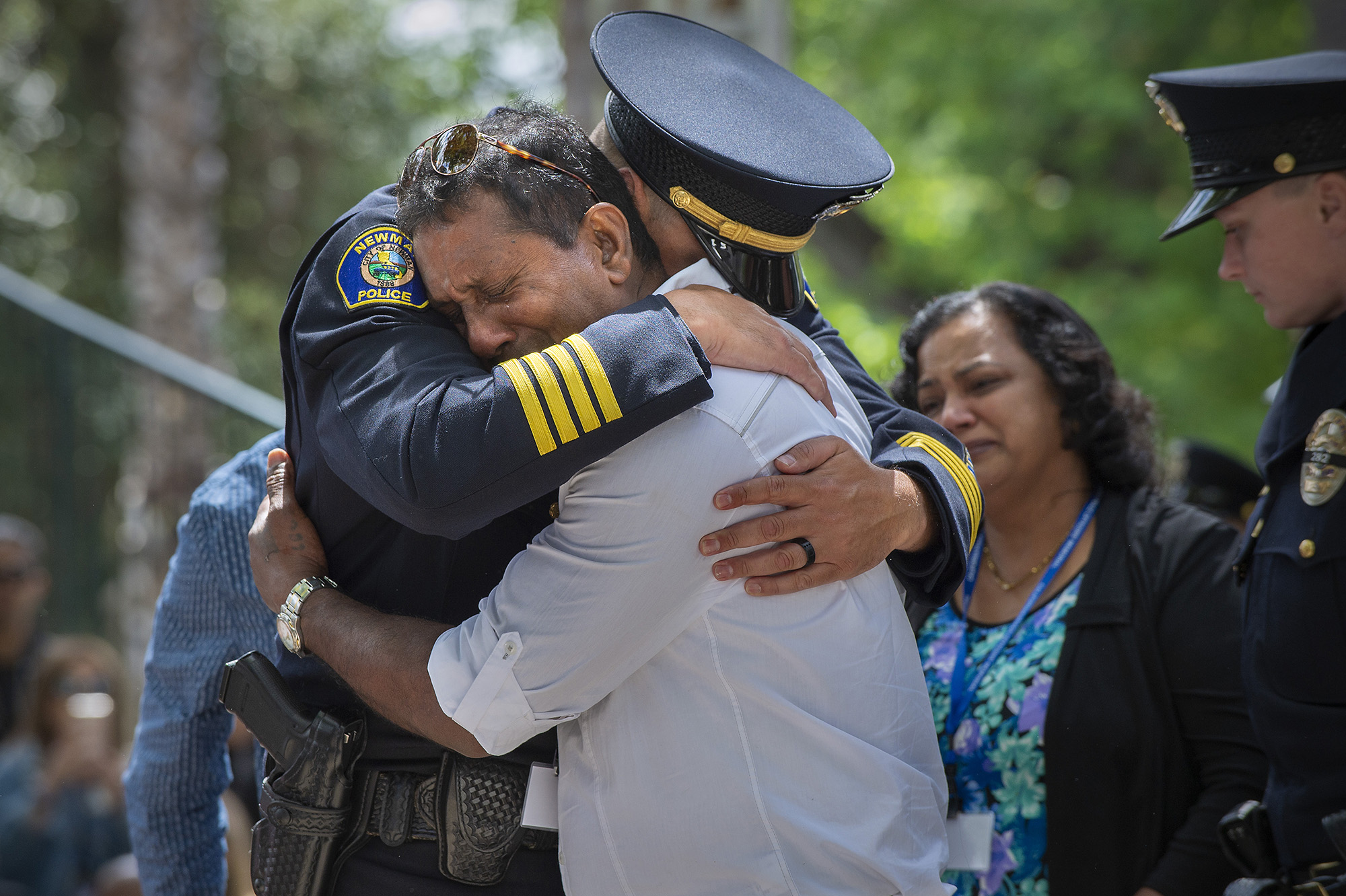 Newman, CA Police Chief Randy Richardson comforts Veer Singh, relative of slain officer Ronil Singh, during the Peace Officers' Memorial Ceremony in Sacramento, Calif. Monday, May 6, 2019. Photo by Randall Benton for CALmatters.