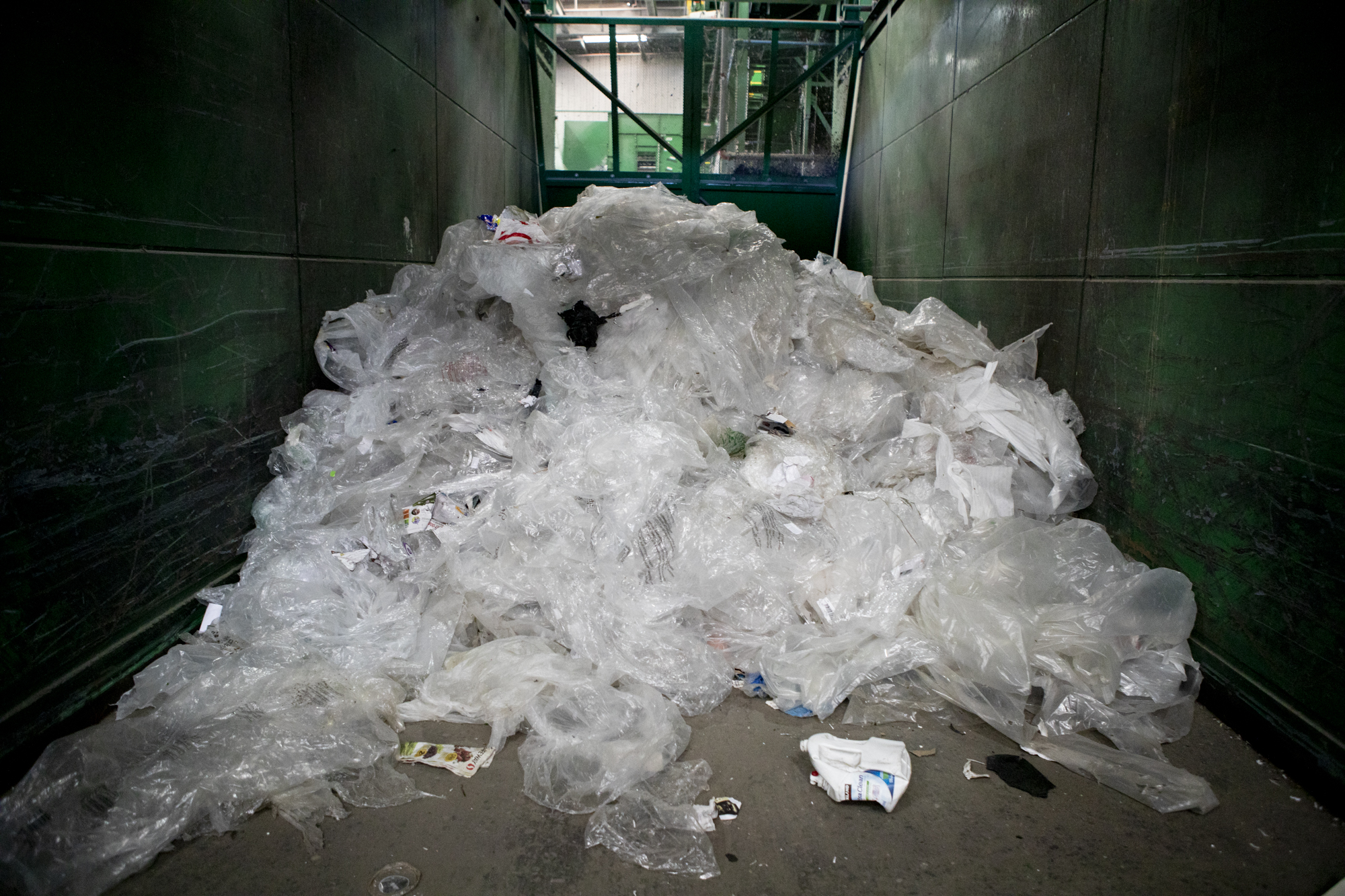 A pile of plastic bags at Greenwaste recycling facility in San Jose on July 29, 2019. Photo by Anne Wernikoff for CalMatters.
