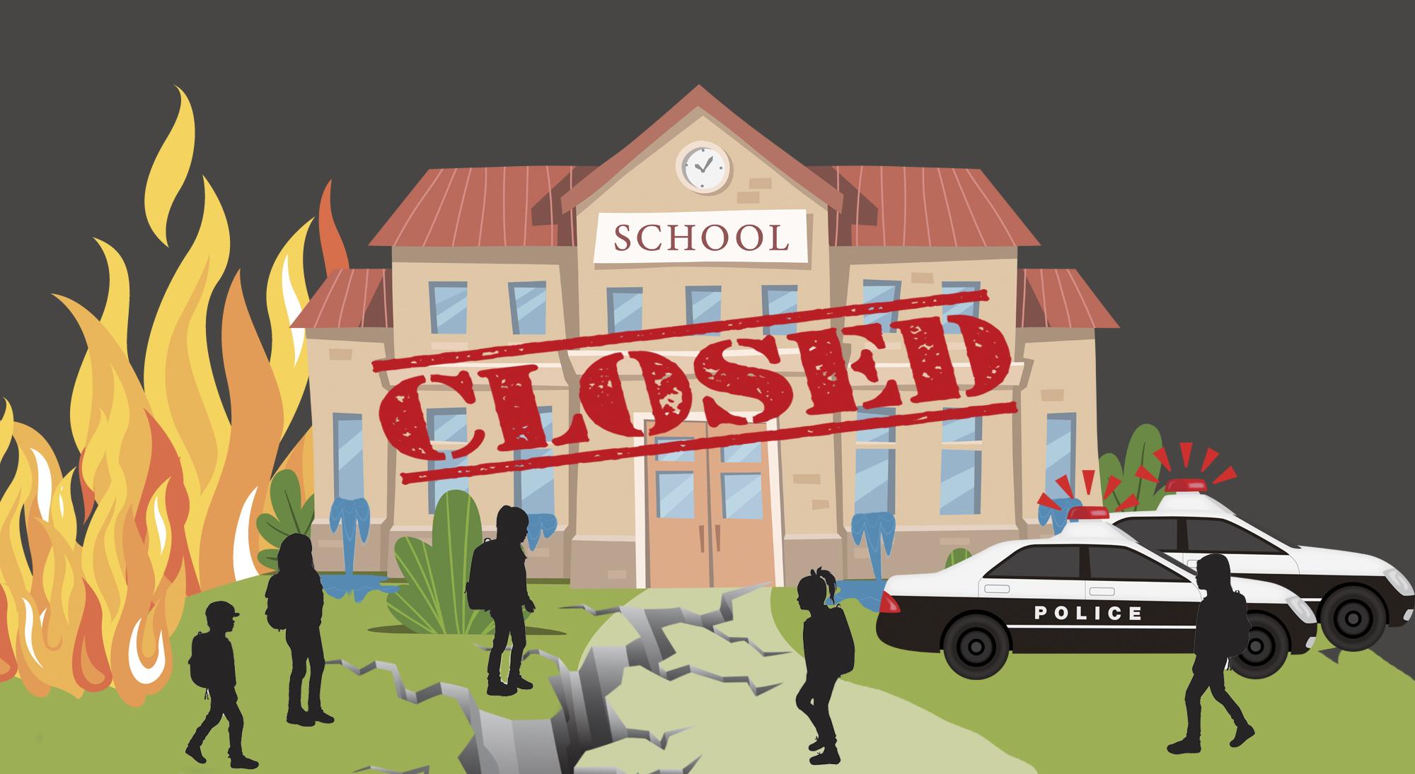 Disaster Days California Public School Closure Database 2002-2019. disaster days, school closures ; R-DESIGN/istock; syntika/istock; MilaArt/istock; NYstudio/istock; AlonzoDesign/istock; bortonia/istock