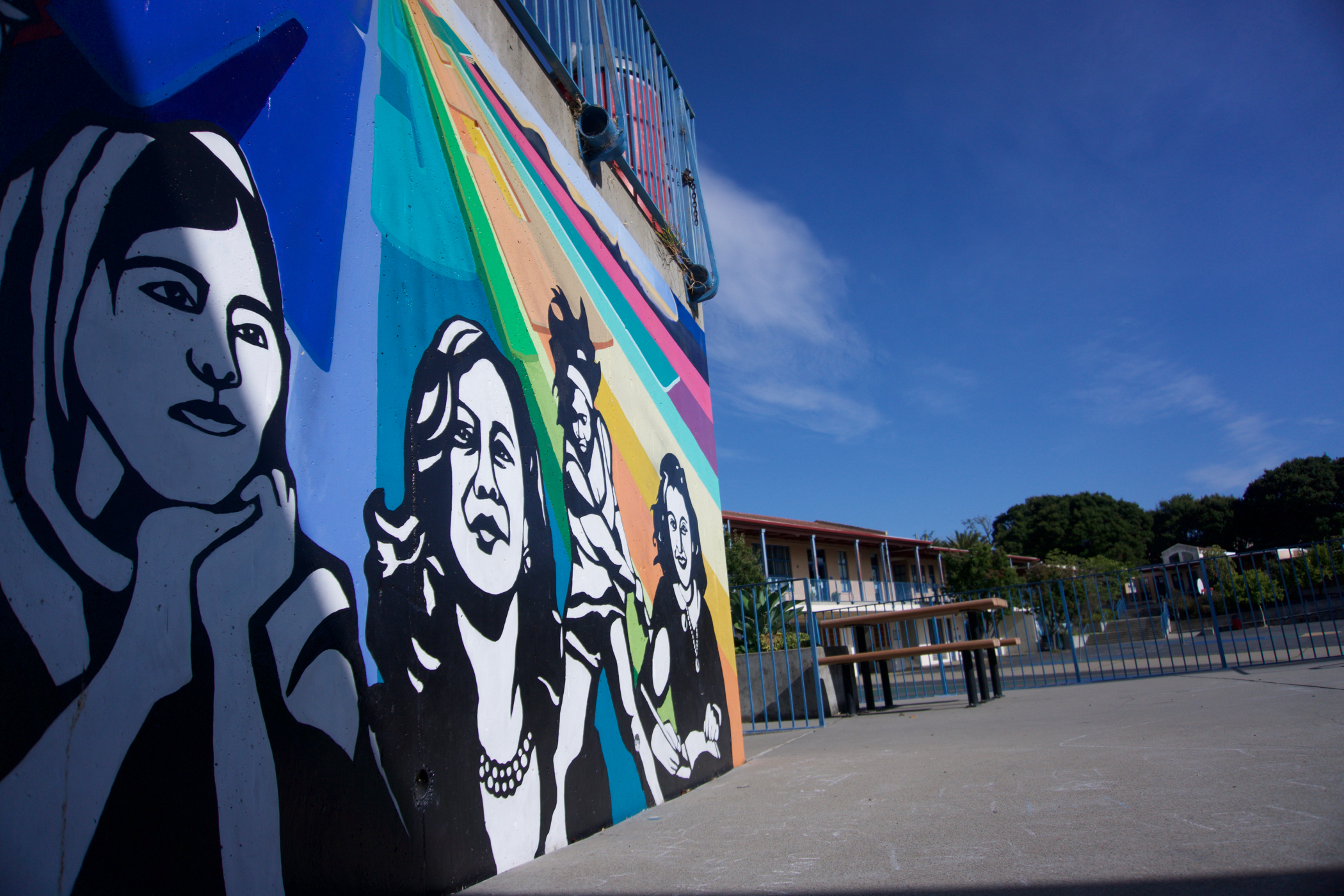 A mural at Thousand Oaks Elementary School in Berkeley, California features alumna Kamala Harris.