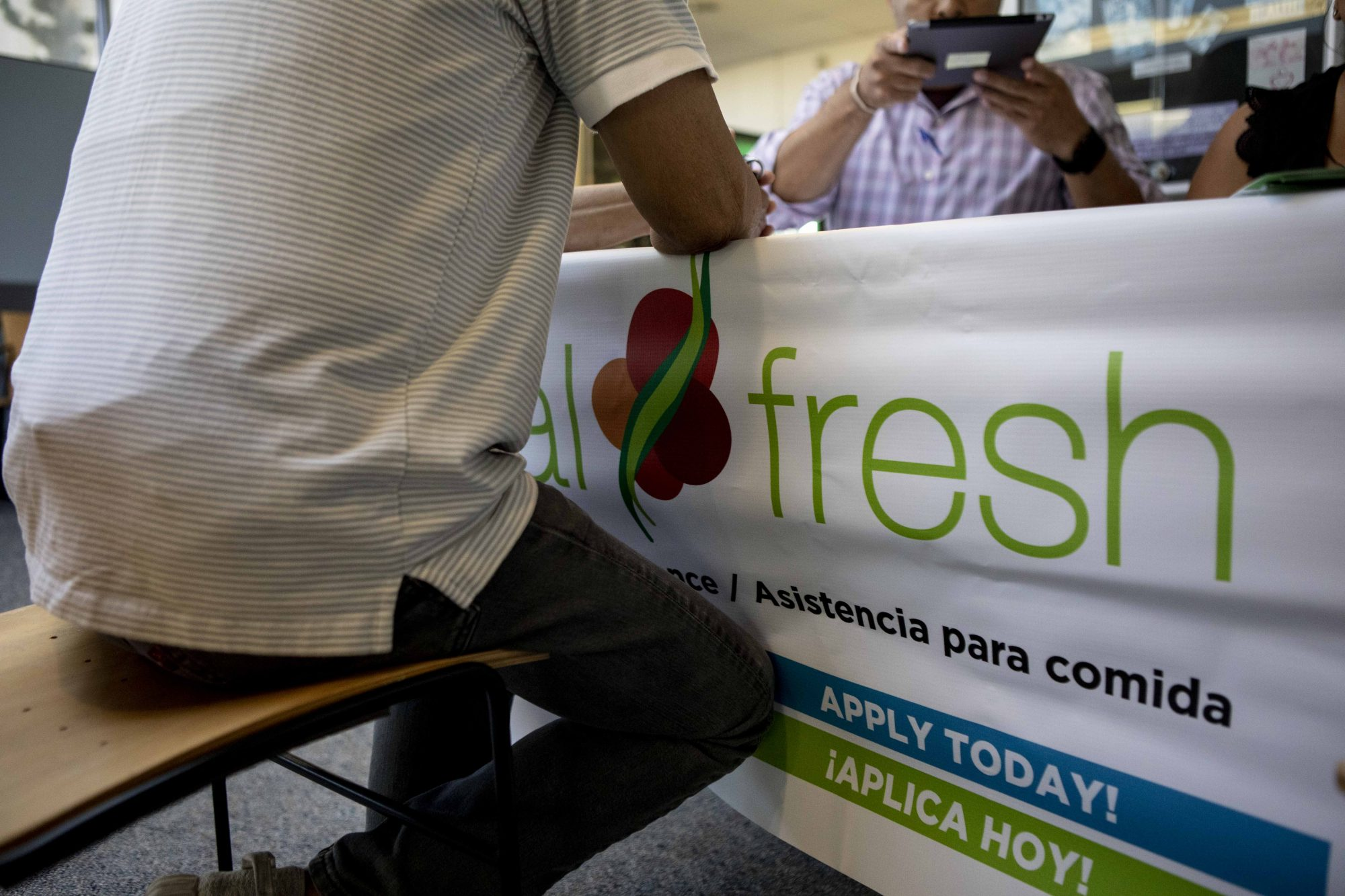 A food bank hosts a CalFresh sign up table at a low-income health clinic in Contra Costa County.