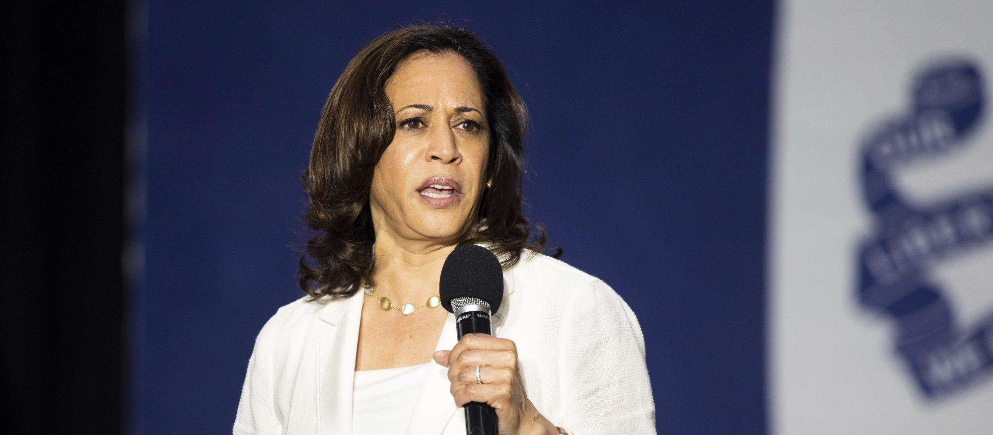 "U.S. Sen. Kamala Harris is campaigning for the White House as a ""progressive prosecutor."" Photo by Michael Brochstein/Sipa USA)(Sipa via AP Images)"
