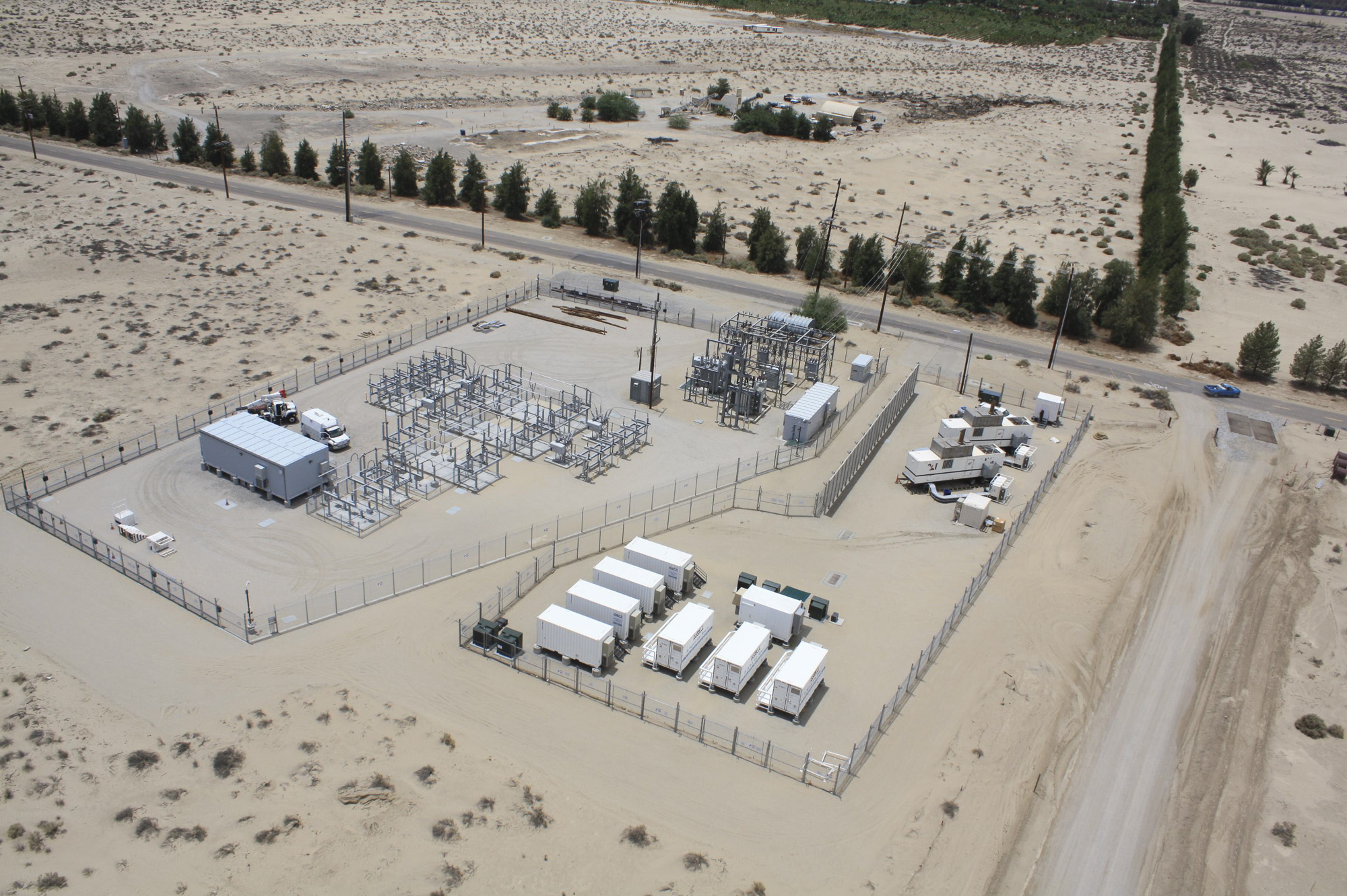 The microgrid, or small energy system, that powers the California desert town of Borrego Springs is seen from above. Photo courtesy of San Diego Gas & Electric