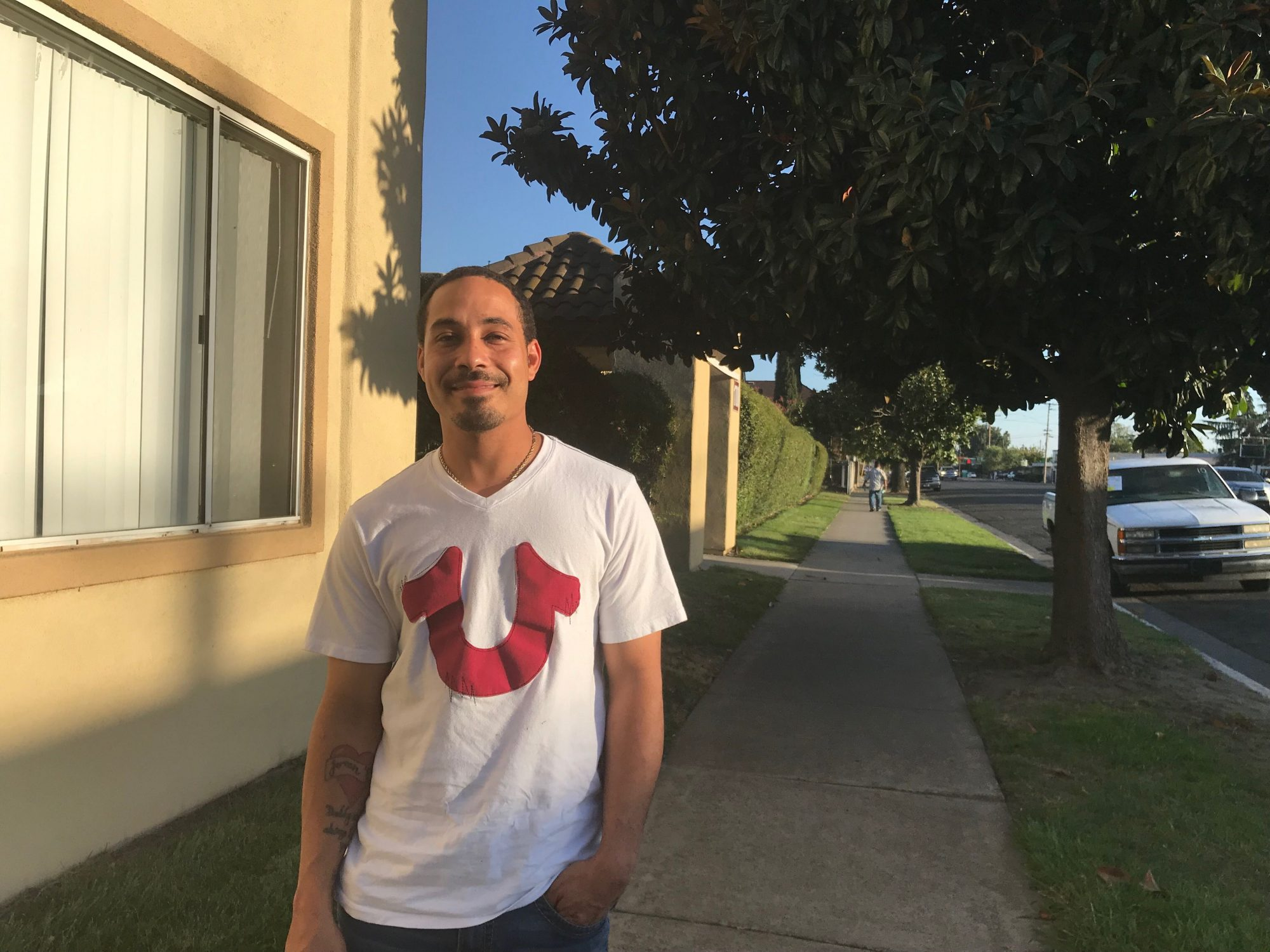 Jovan Bravo, 31, at the Stockton Economic Empowerment Demonstration headquarters. He's one of 125 residents receiving $500 a month from the pilot project.