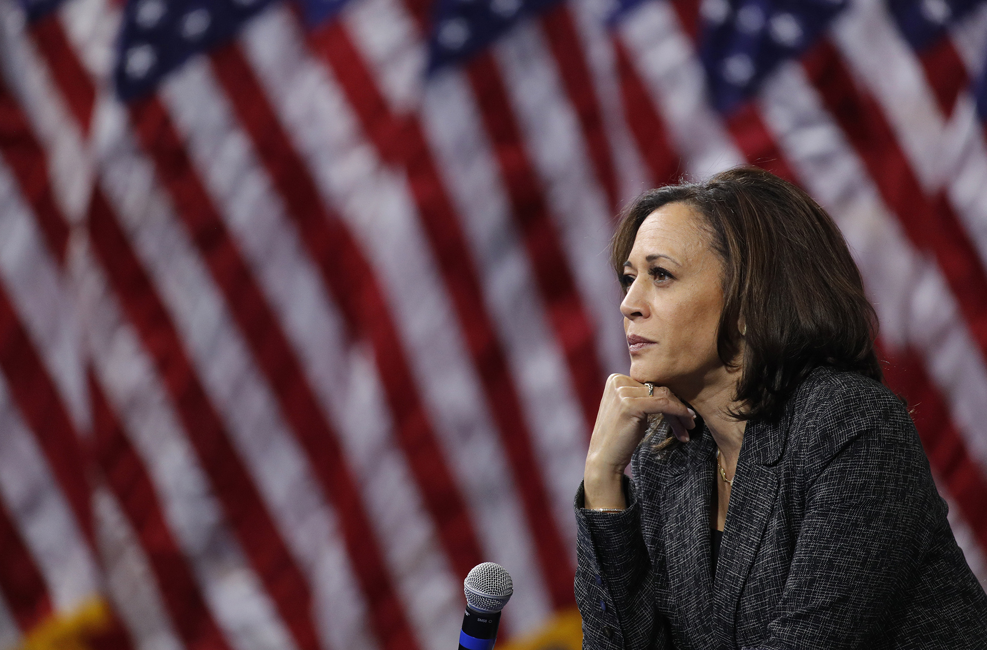 Democratic presidential candidate Kamala Harris at an October gun safety forum in Las Vegas, weeks before her withdrawal from the race. Photo by John Locher, AP Photo