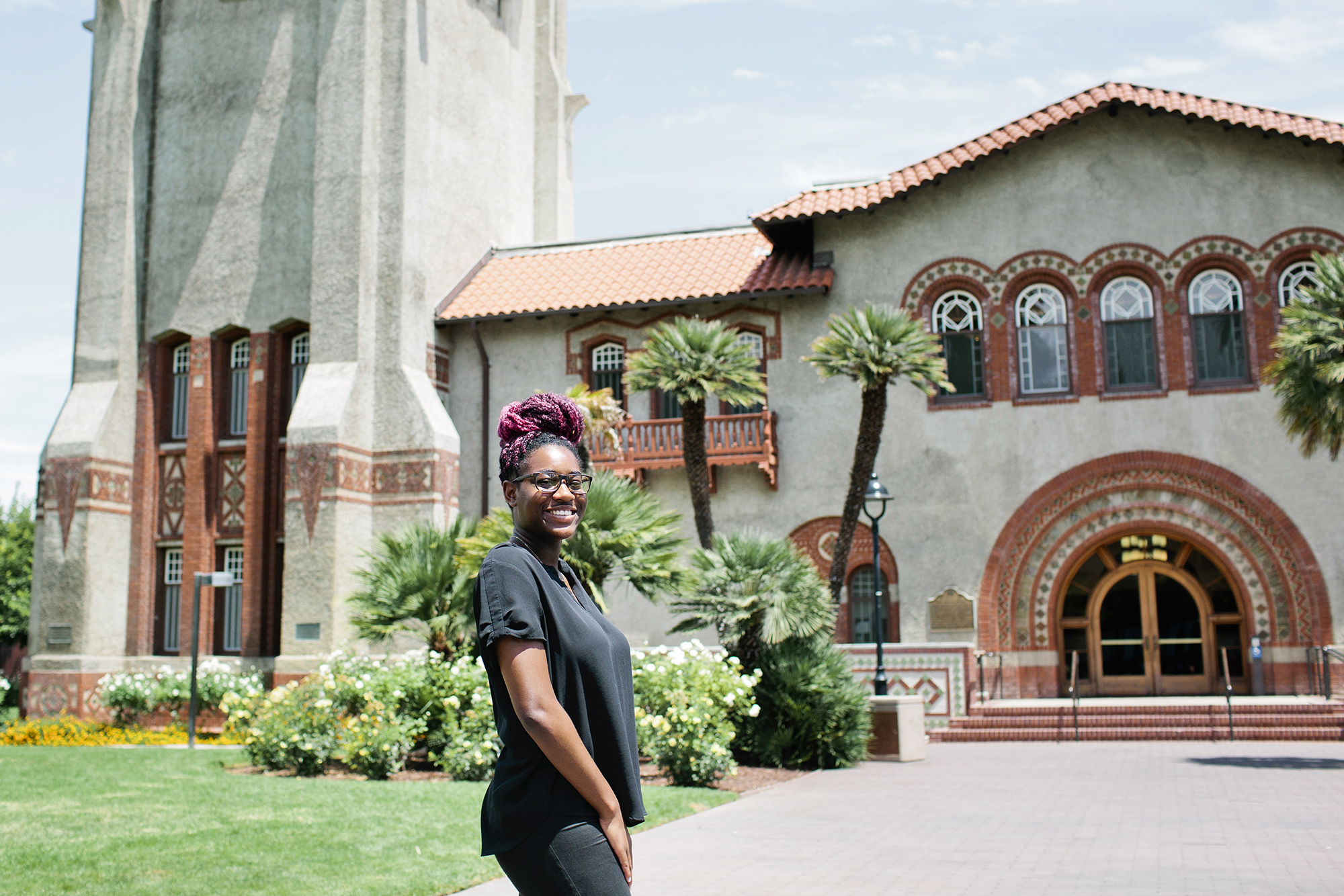San Jose State University senior Jaelyn Deas, 22, is a recipient of the Spartan Completion Grant and plans to graduate in December in San Jose, Calif., Thursday, July 25, 2019. When Deas discovered that the grant would cover her summer school registration fees she said it felt like Christmas morning. Photo by Alison Yin for the Hechinger Report
