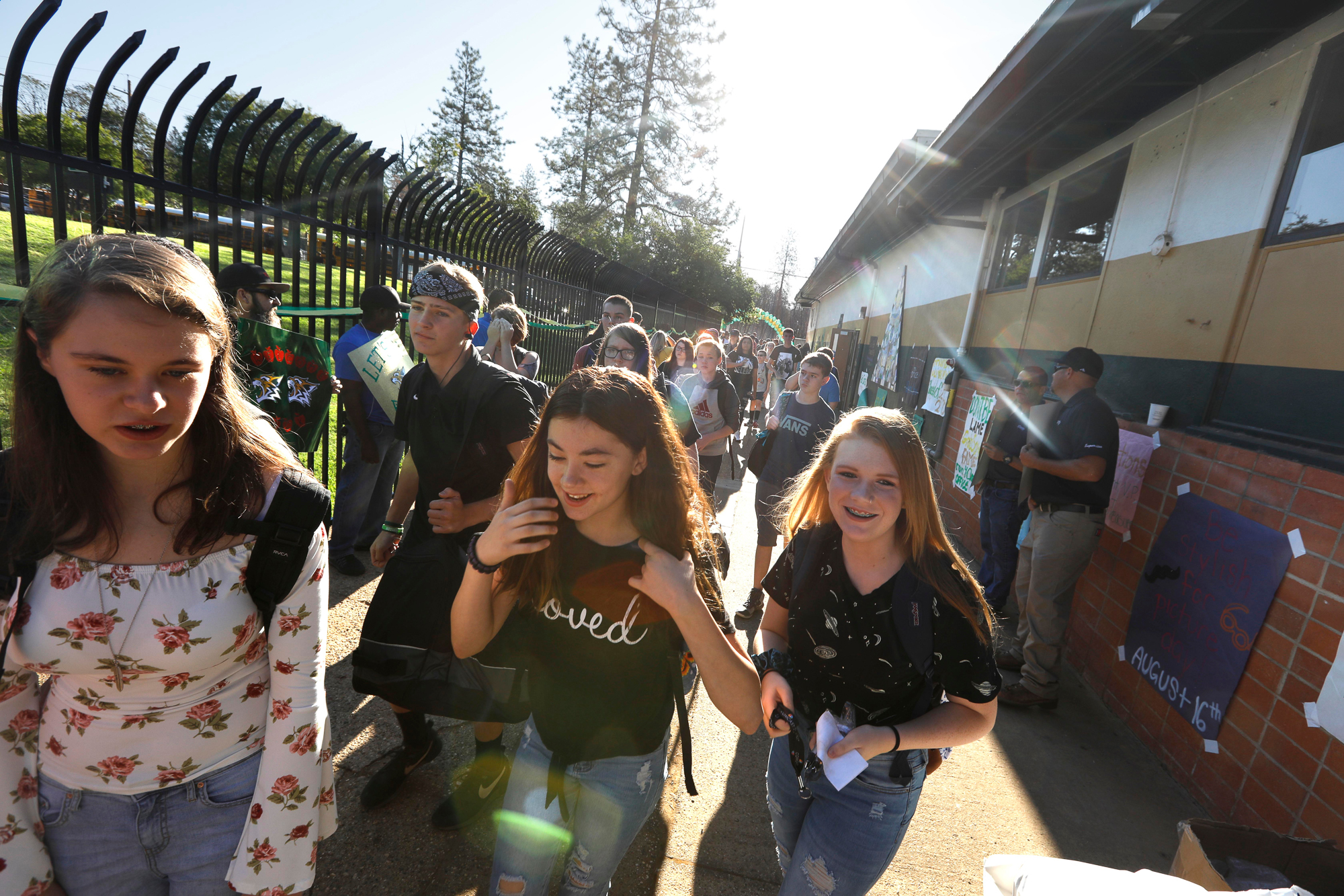 Students return to class at Paradise High School nine months after the Camp Fire ravaged the community