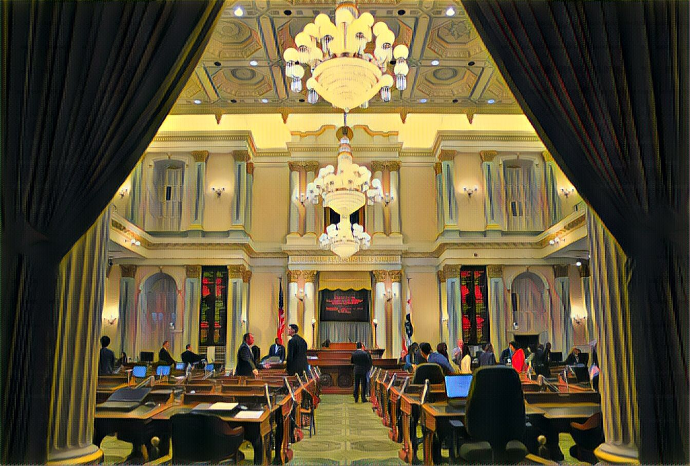 A photo illustration of the California Assembly