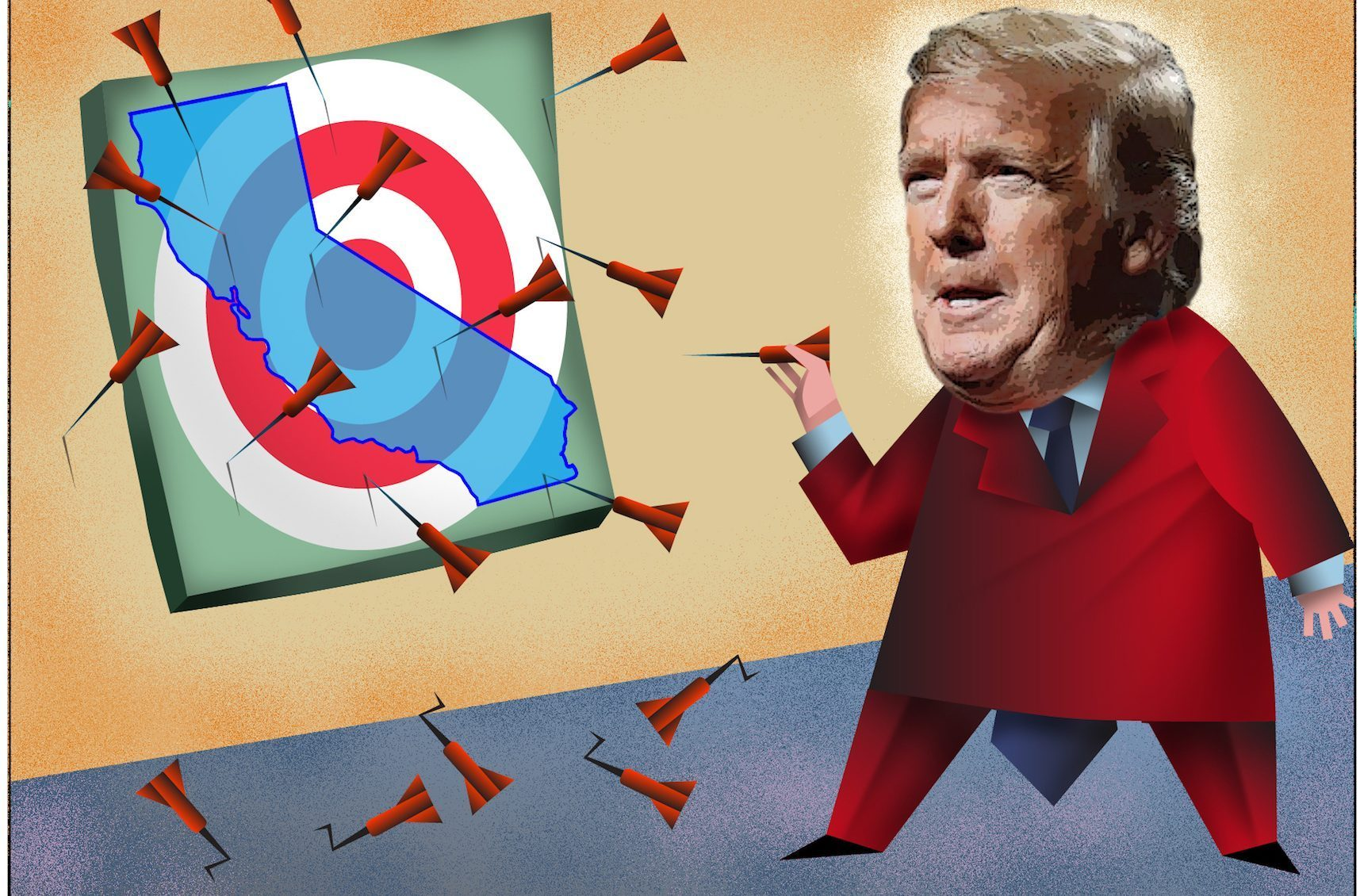 President Donald Trump, in his 2020 reelection bid, often seems to be campaigning against California —evoking it as a Democratic dystopia. Illustration by Dan Hubig for CalMatters
