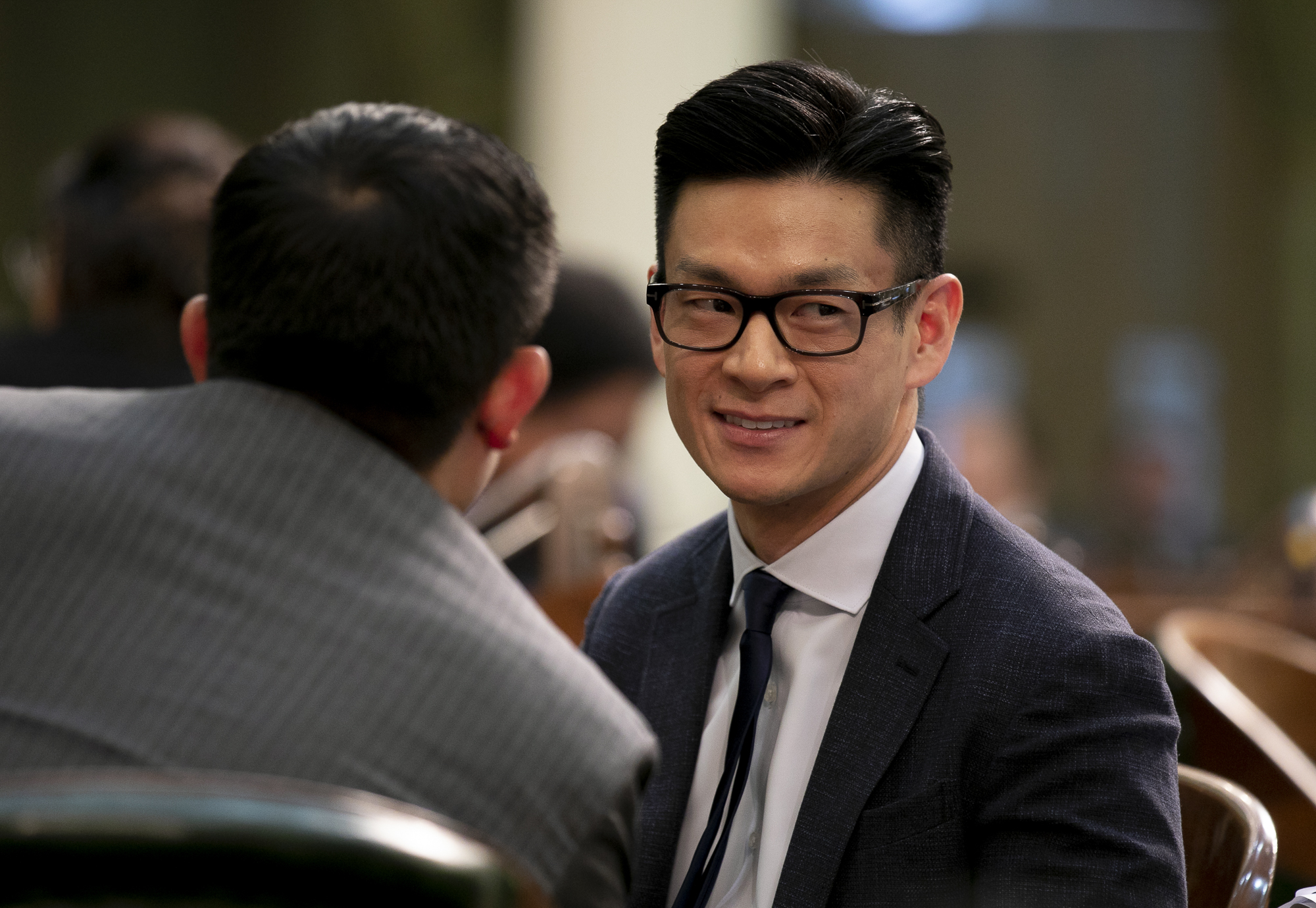Assemblymember Evan Low on the assembly floor on the first day of the 2020 legislative session