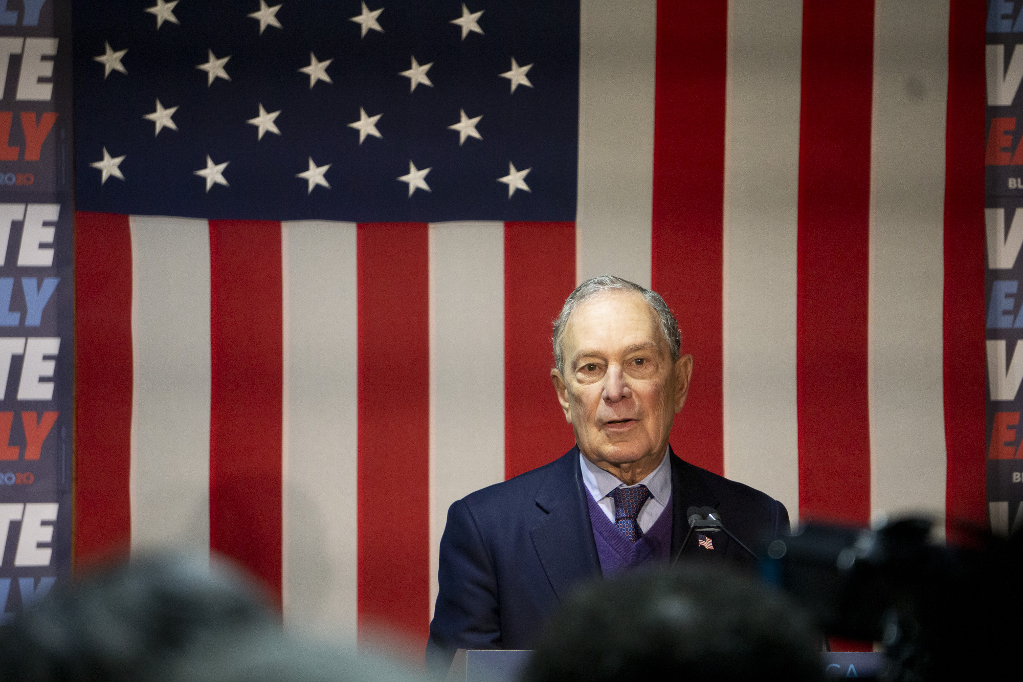 Michael Bloomberg, touting the endorsement of state Treasurer Fiona Ma, at Old Soul Co. coffee shop in Sacramento