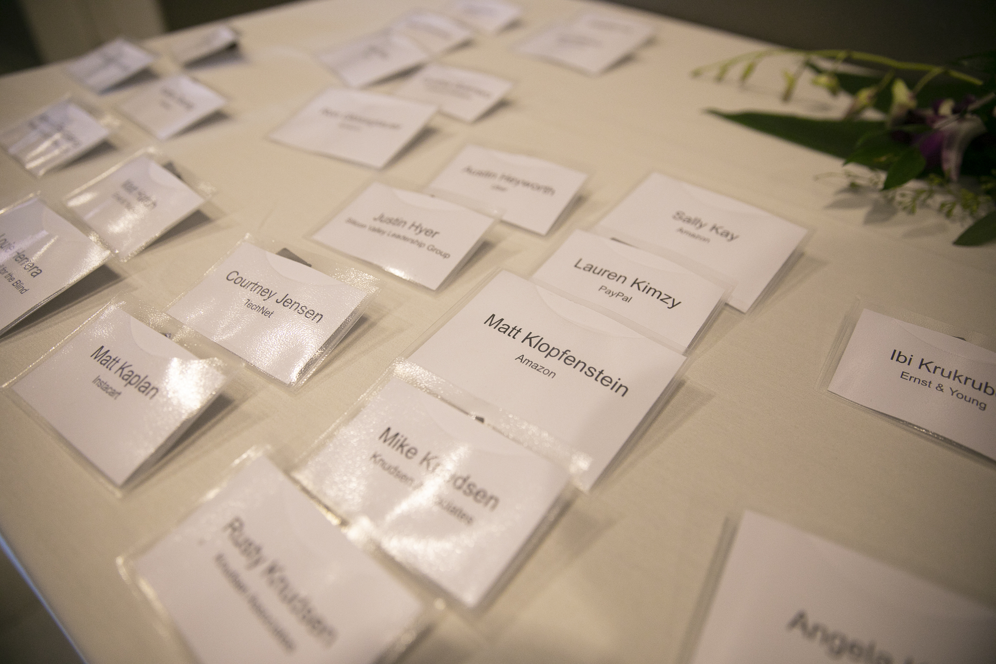 Name tags outside of the two-day technology and policy summit for lawmakers and tech-industry representatives hosted by Foundation for California's Technology and Innovation Economy