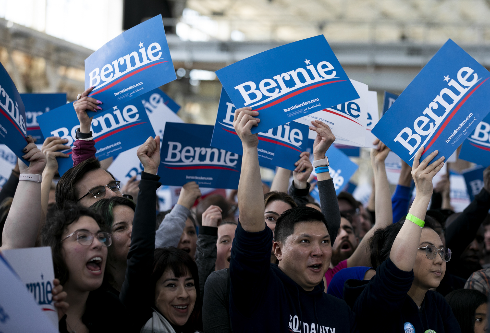 Thousands gathered to support democratic presidential candidate Sen. Bernie Sanders at a campaign rally at Craneway Pavilion in Richmond, CA on February 17, 2020. Photo by Anne Wernikoff for CalMatters