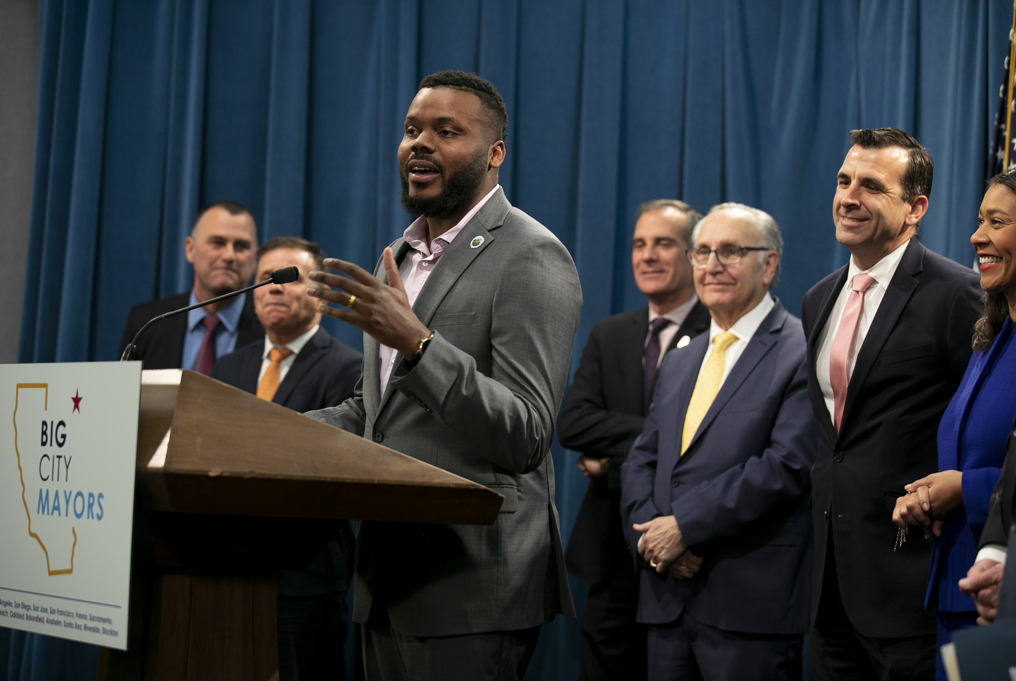 Stockton Mayor Michael Tubbs speaks during a press conference by Big City Mayors, a coalition of mayors from California's 13 largest cities focused on finding solutions to homelessness, at the California Captiol on March 9, 2020. Photo by Anne Wernikoff for CalMatters