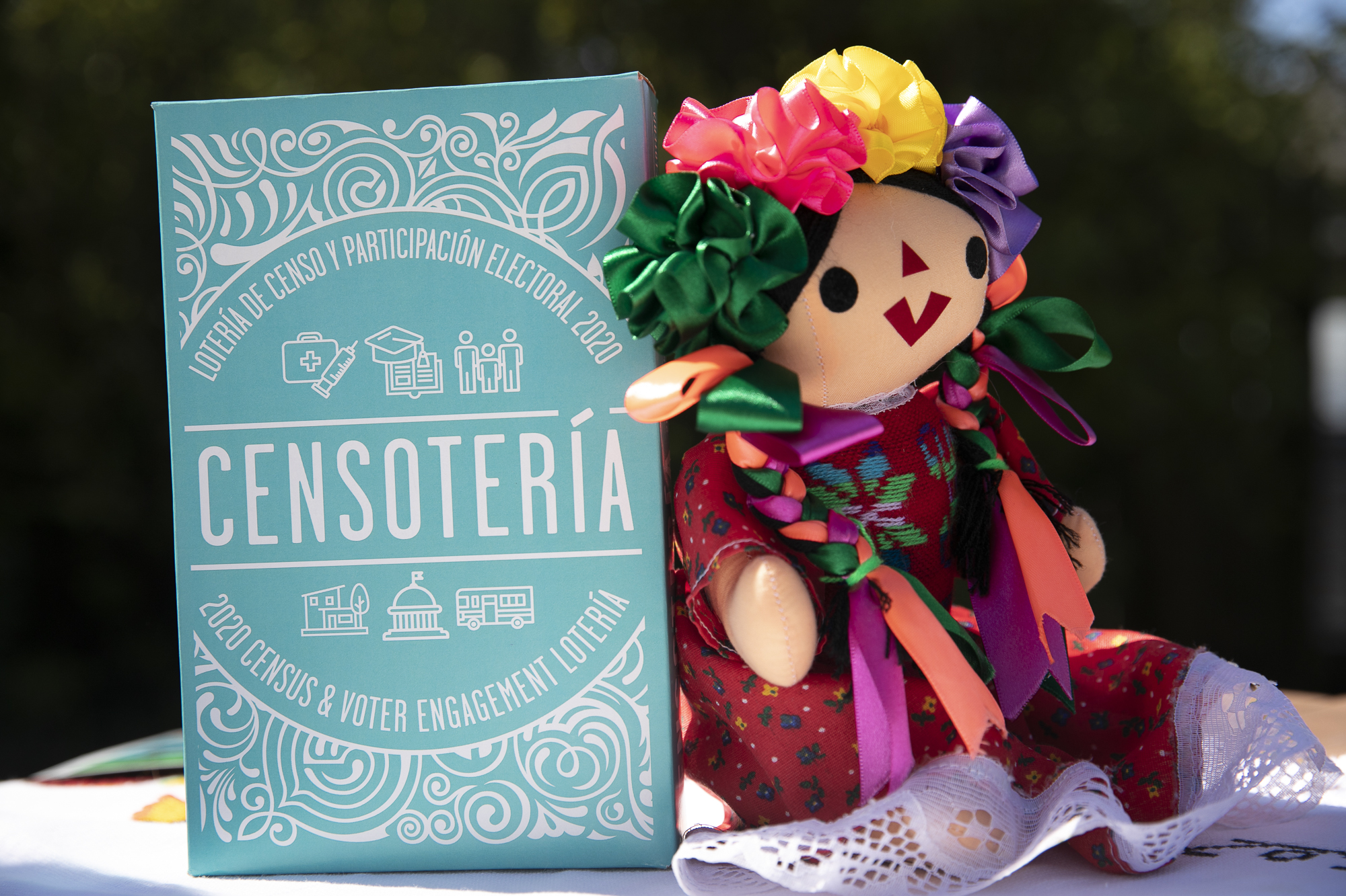 Censoteria, a card game developed at La Luz in Sonoma, is based off of the familiar La Loteria game and helps to engage community members with civics, the census and public services. Photo by Anne Wernikoff for CalMatters