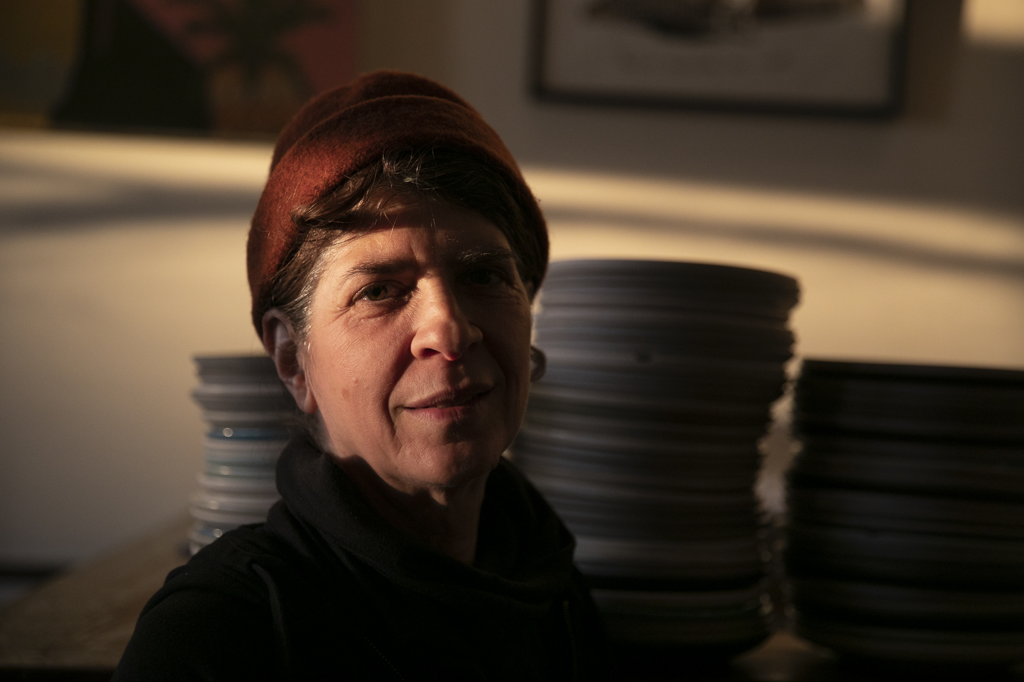"""Pizzaiolo part owner Donna Insalaco hopes that the business will be able to survive the shelter in place order. """"We had to lay off everybody that is not a salaried employee"""" she said, """"we were all crying today."""" Photo by Anne Wernikoff for CalMatters"""