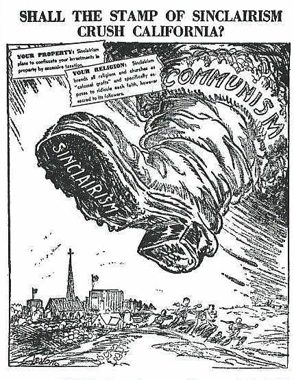 A political cartoon from the 1930s of a boot with 'Sinclairism' printed on the bottom stomping on California