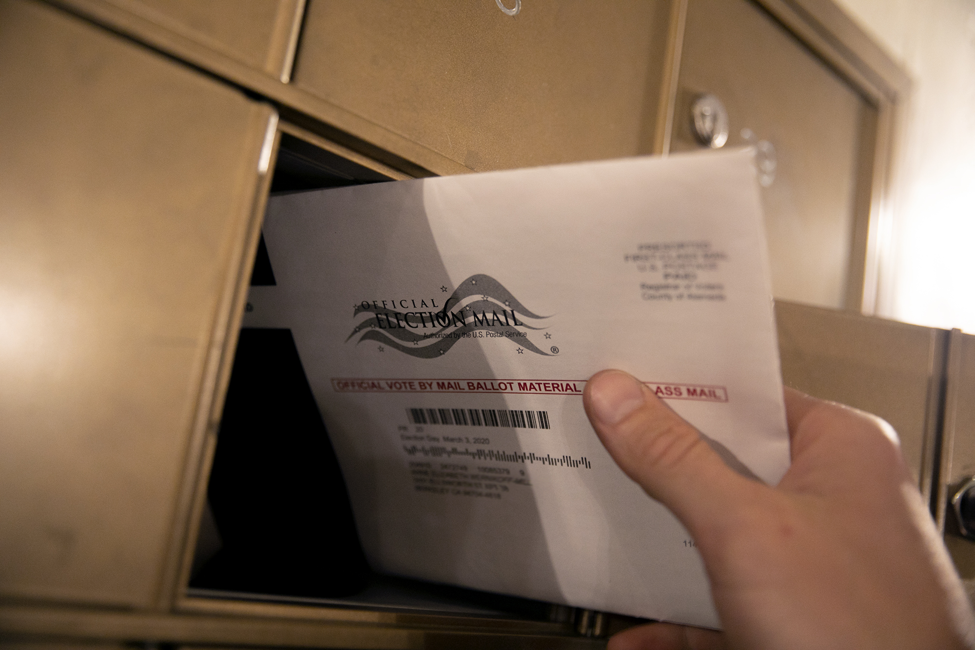 California mail-in ballot on Super Tuesday 2020. Photo illustration by Anne Wernikoff for CalMatters