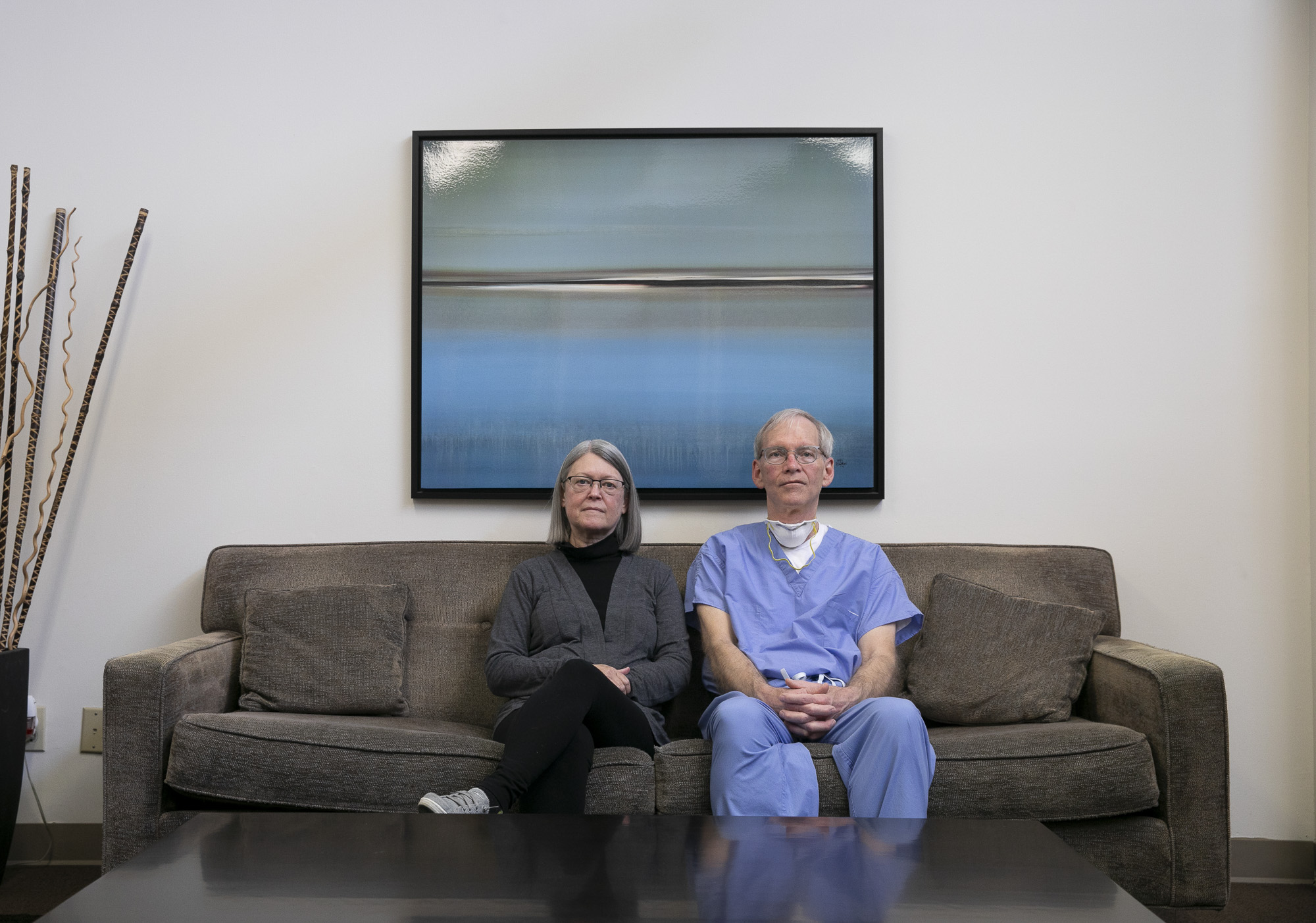 Debbie Rood and Dr. George Scott in their Manteca clinic. Dr. Scott's private OB/GYN practice is being forced to move to a smaller clinic space after their landlord more than tripled their rent in early March. Photo by Anne Wernikoff for CalMatters