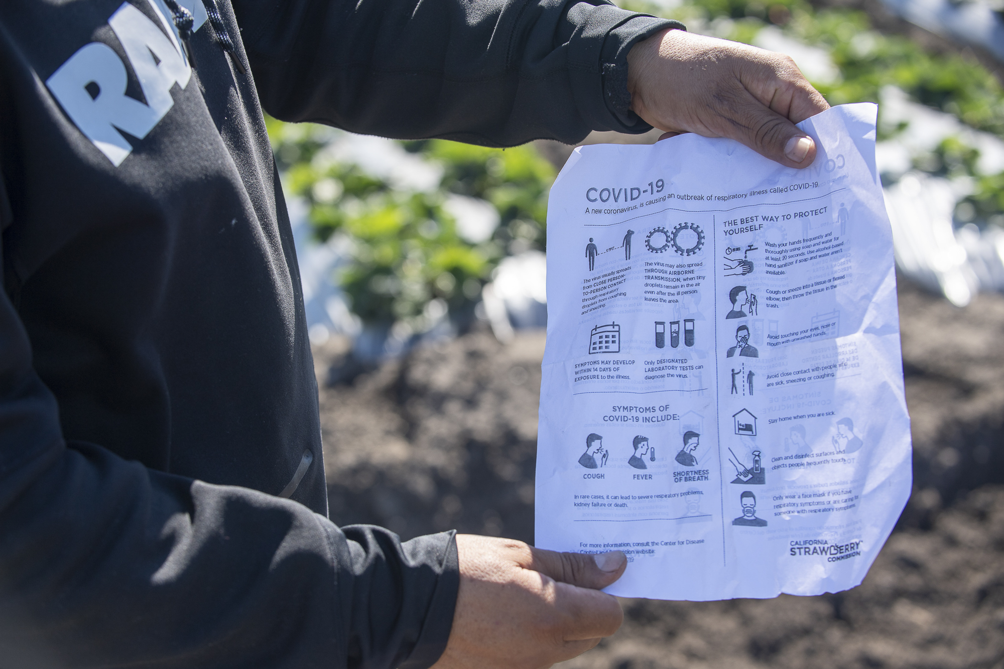 A Norcal Harvesting fieldworker shows a list of safety measures that according to the employee are being implemented in order to combat the COVID-19 pandemic. March 31, 2020. Photo by David Rodriguez, The Salinas Californian