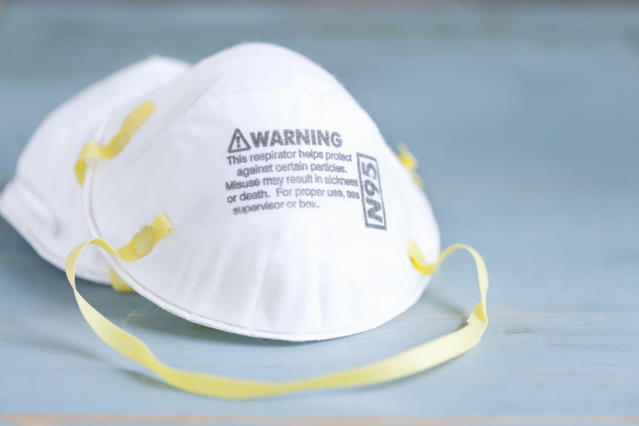 Protective face masks like N95 respirators are in short supply — but new California efforts aim to change that in part through a coronavirus mask decontamination effort. Photo by Liliboas via iStock.